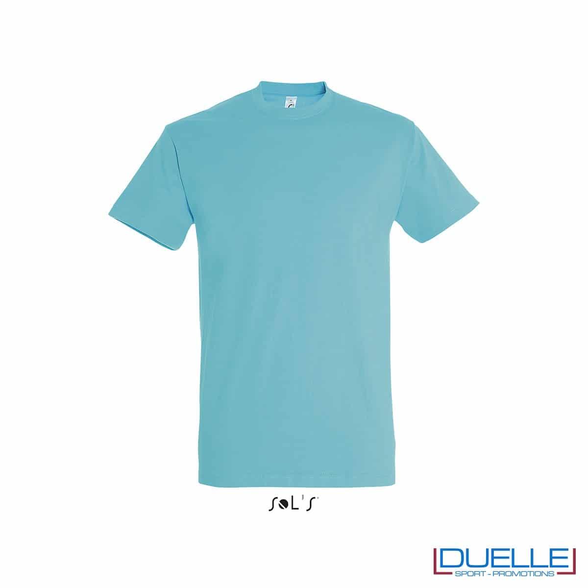 T-shirt in cotone pesante blu atollo personalizzata con stampa o ricamo