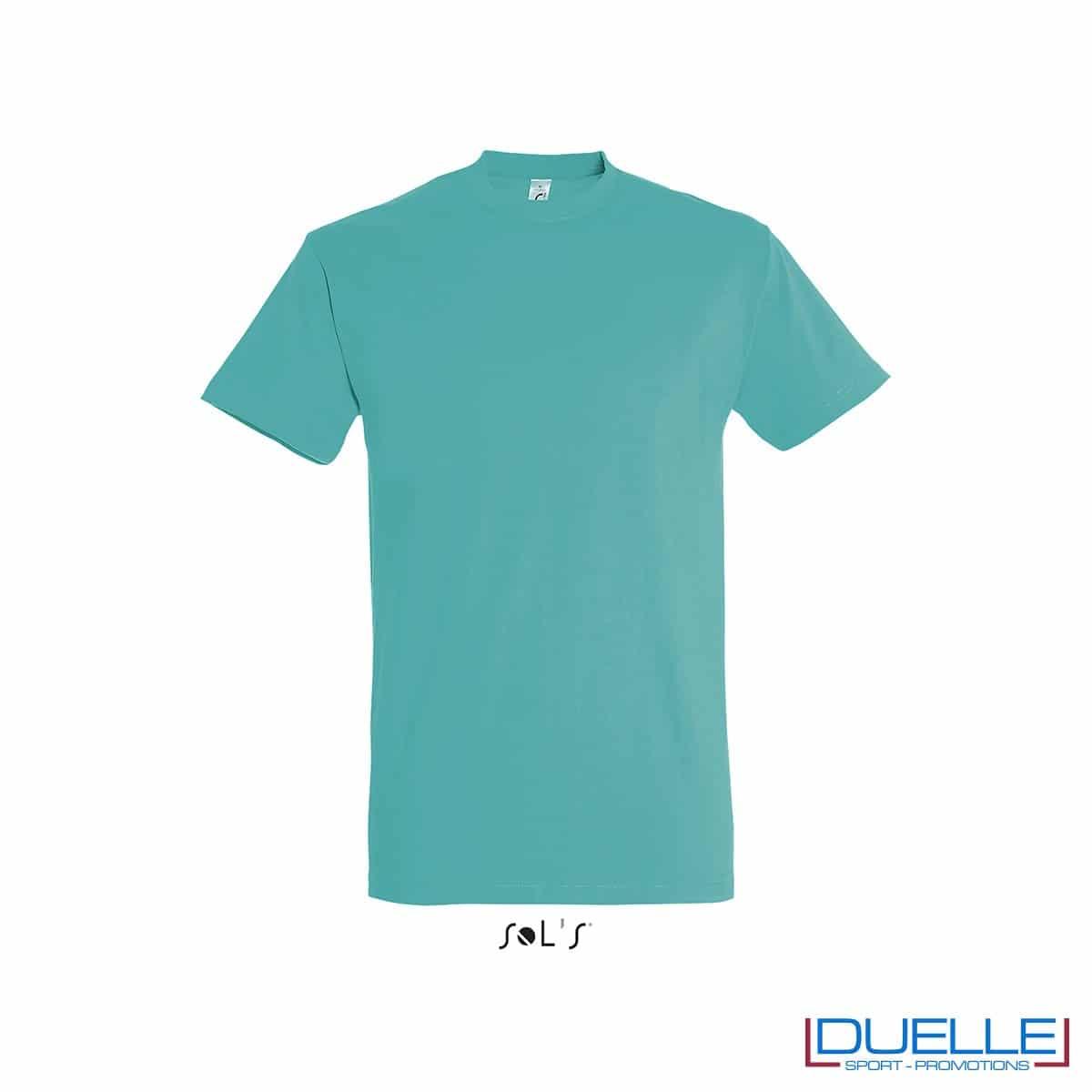 Maglietta in cotone pesante blu caraibi personalizzata con stampa o ricamo