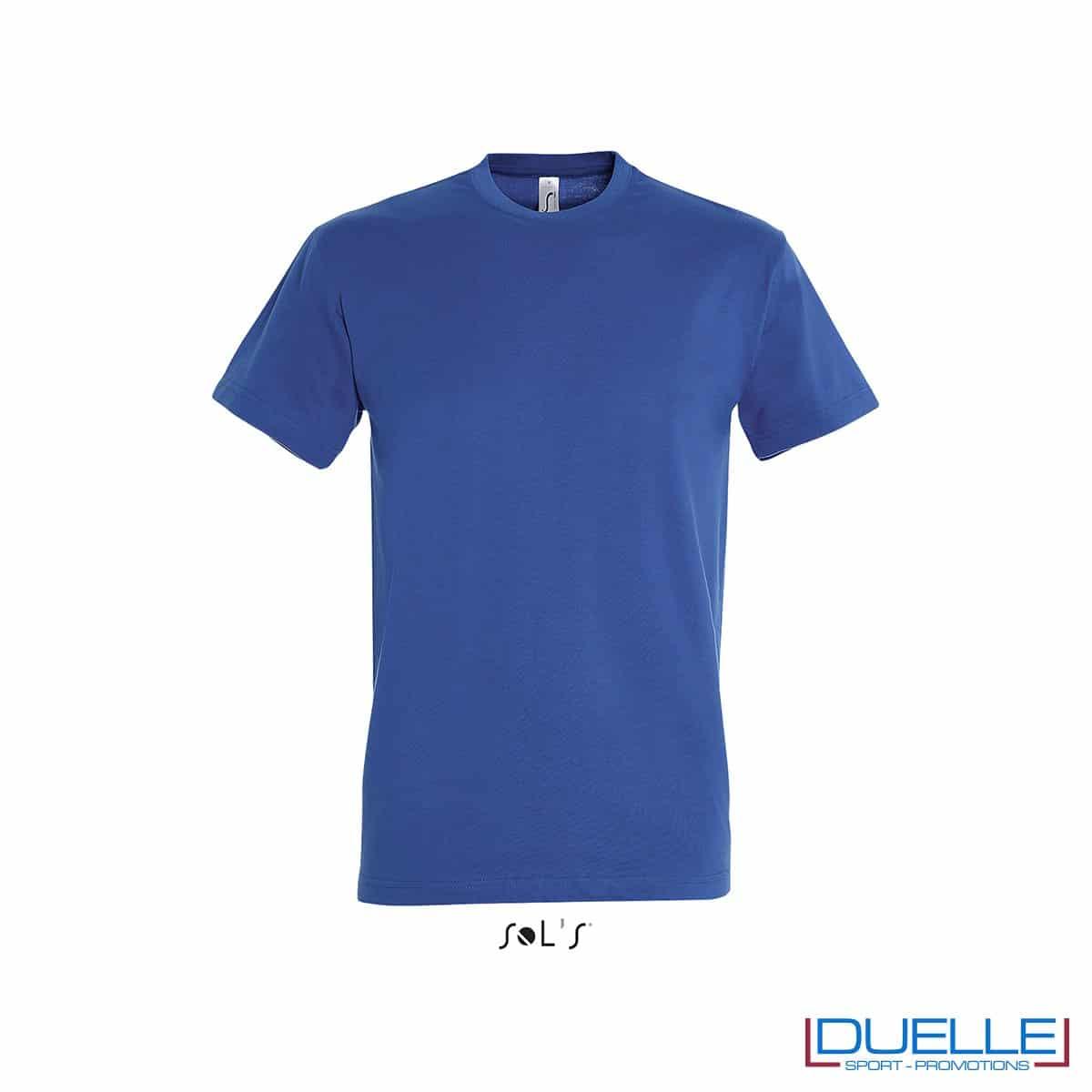 Maglietta promozionale in cotone pesante colore blu royal personalizzata con ricamo o stampa