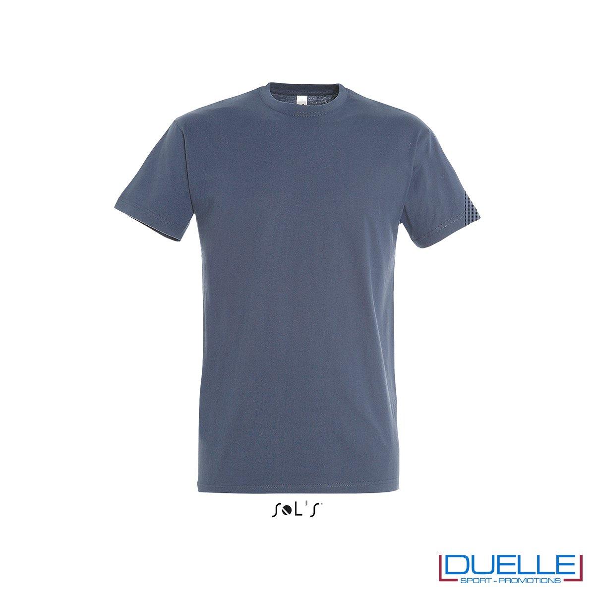 Maglietta personalizzata in cotone pesante colore denim personalizzata con stampa o ricamo