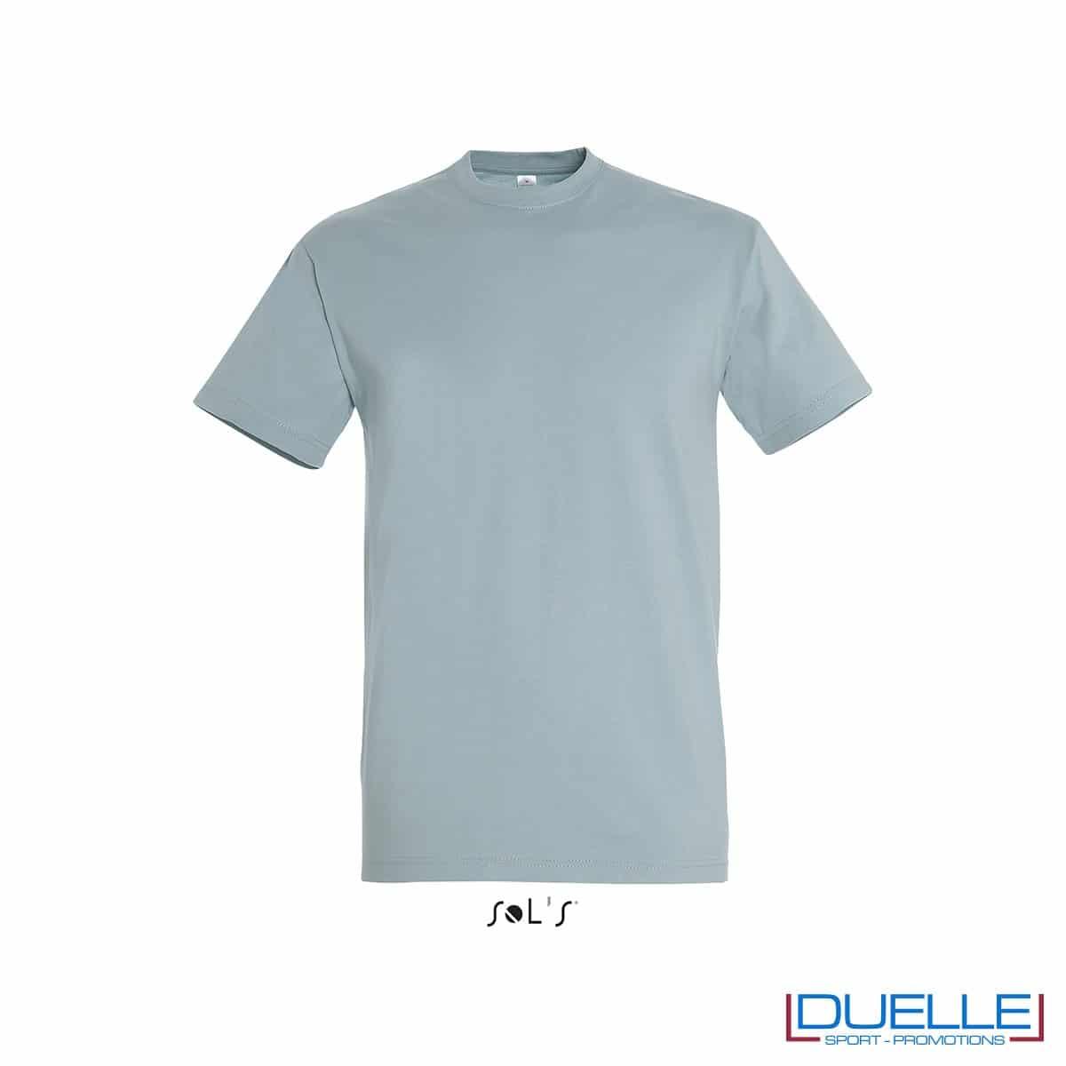 Maglietta PERSONALIZZATA in cotone pesante blu ghiaccio personalizzata con stampa o ricamo