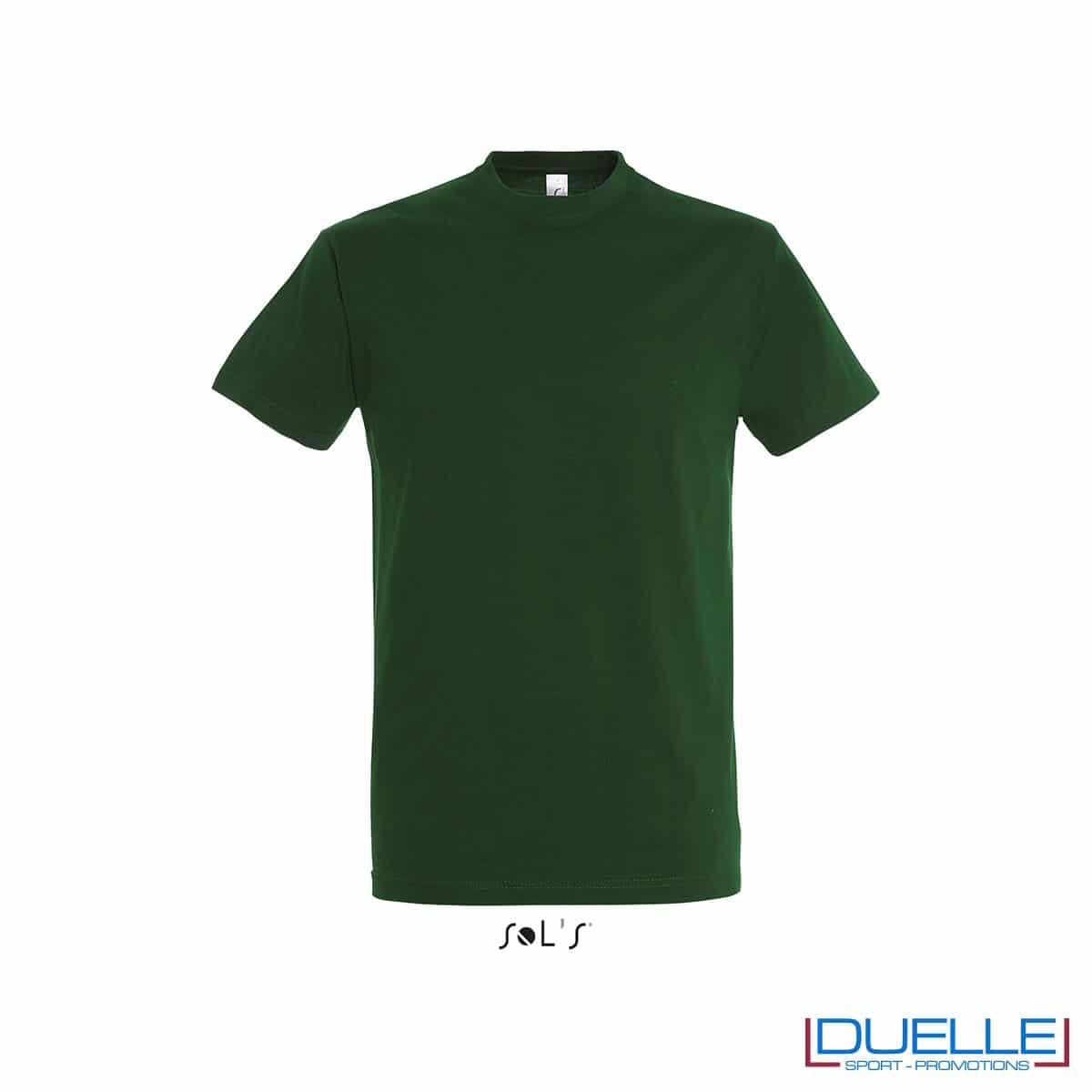 T-shirt promozionale in cotone pesante colore verde bottiglia personalizzata con ricamo o stampa