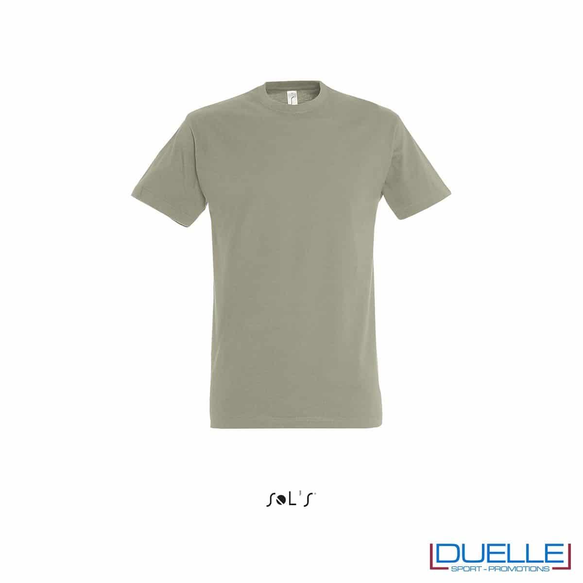 T-shirt promozionale in cotone pesante colore kaki personalizzata con stampa o ricamo
