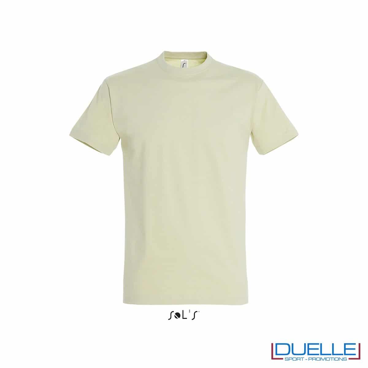 T-shirt promozionale in cotone pesante colore verde tiglio personalizzata con ricamo o stampa