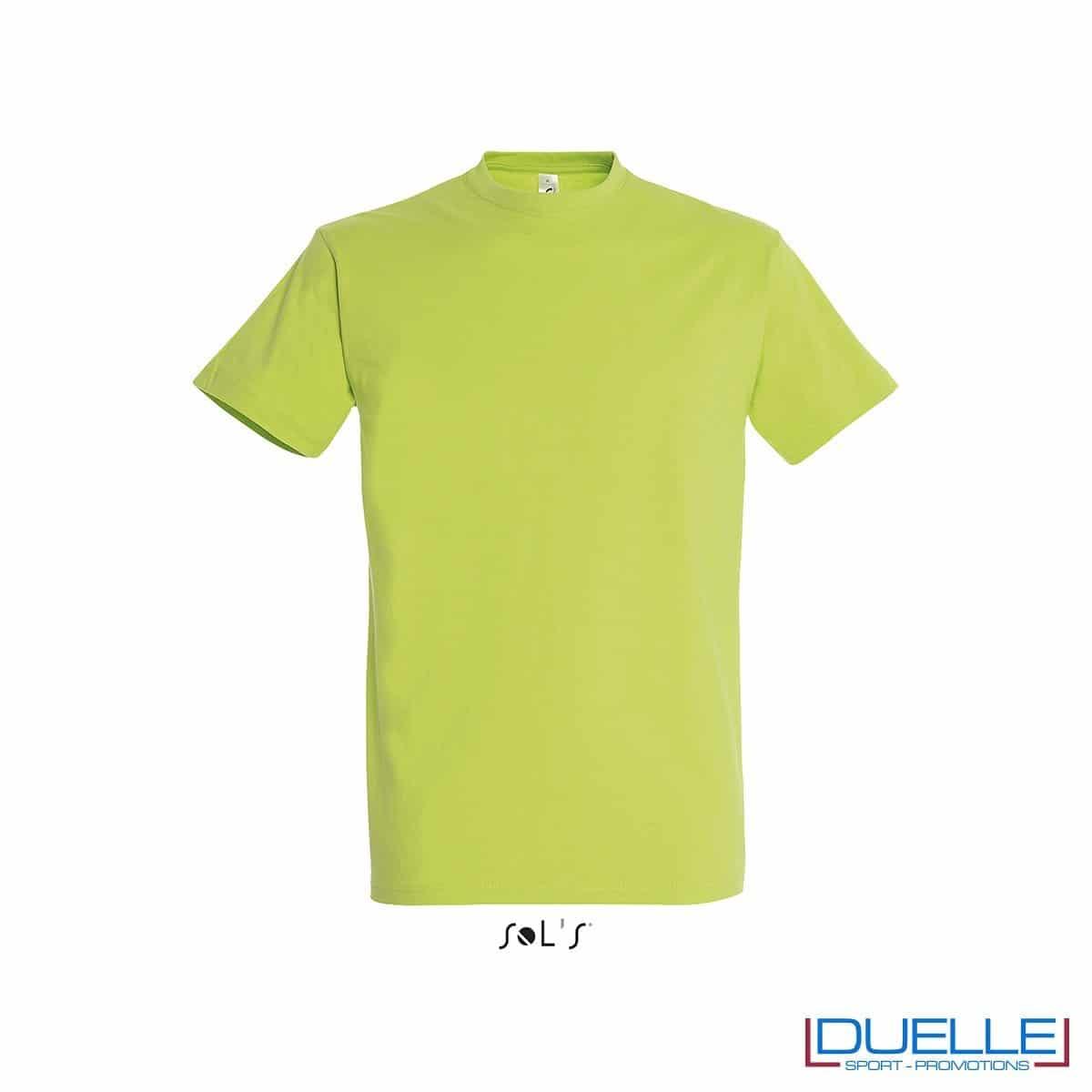 T-shirt promozionale in cotone pesante colore verde mela personalizzata con ricamo o stampa