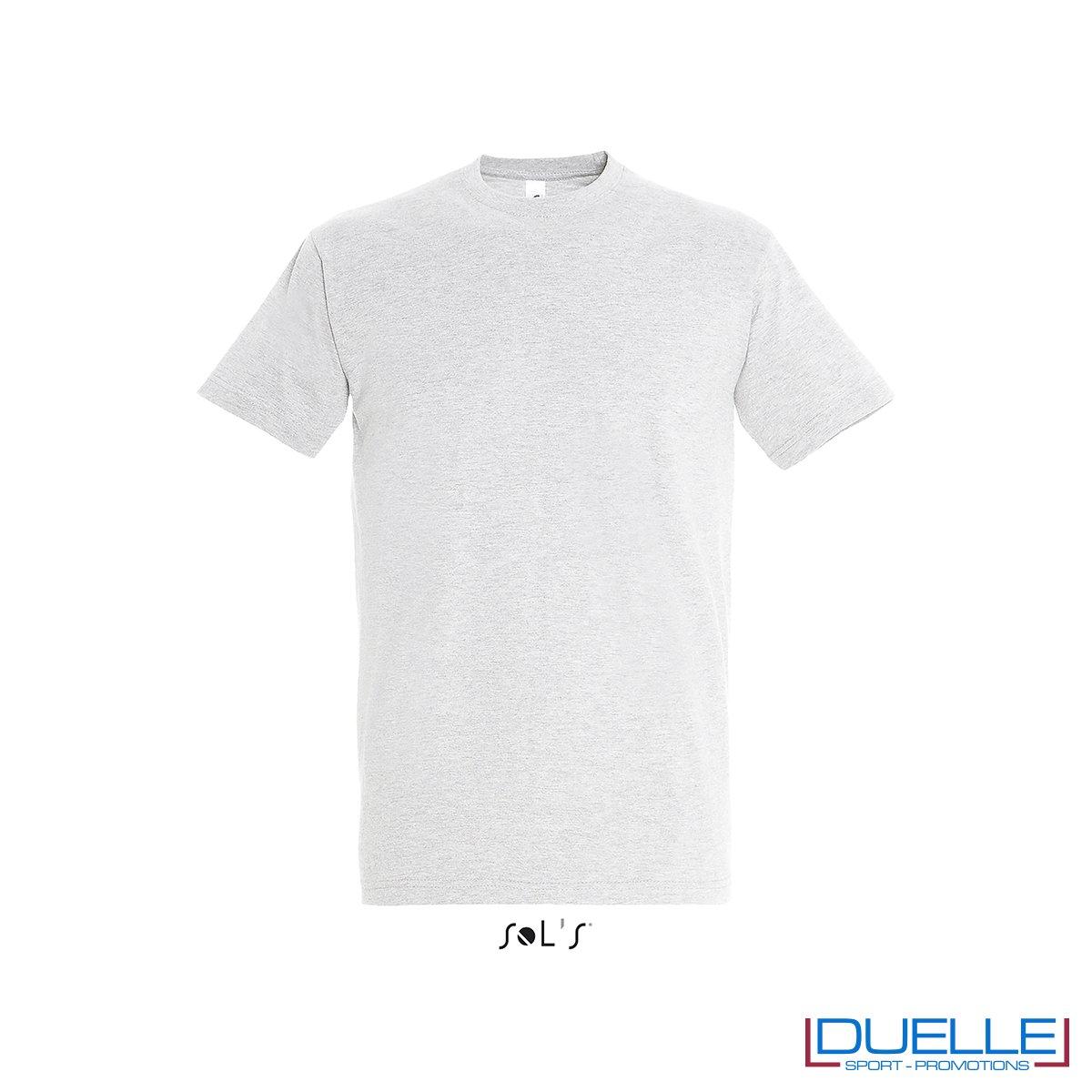 Tshirt promozionale in cotone pesante colore grigio chiaro personalizzata con stampa o ricamo