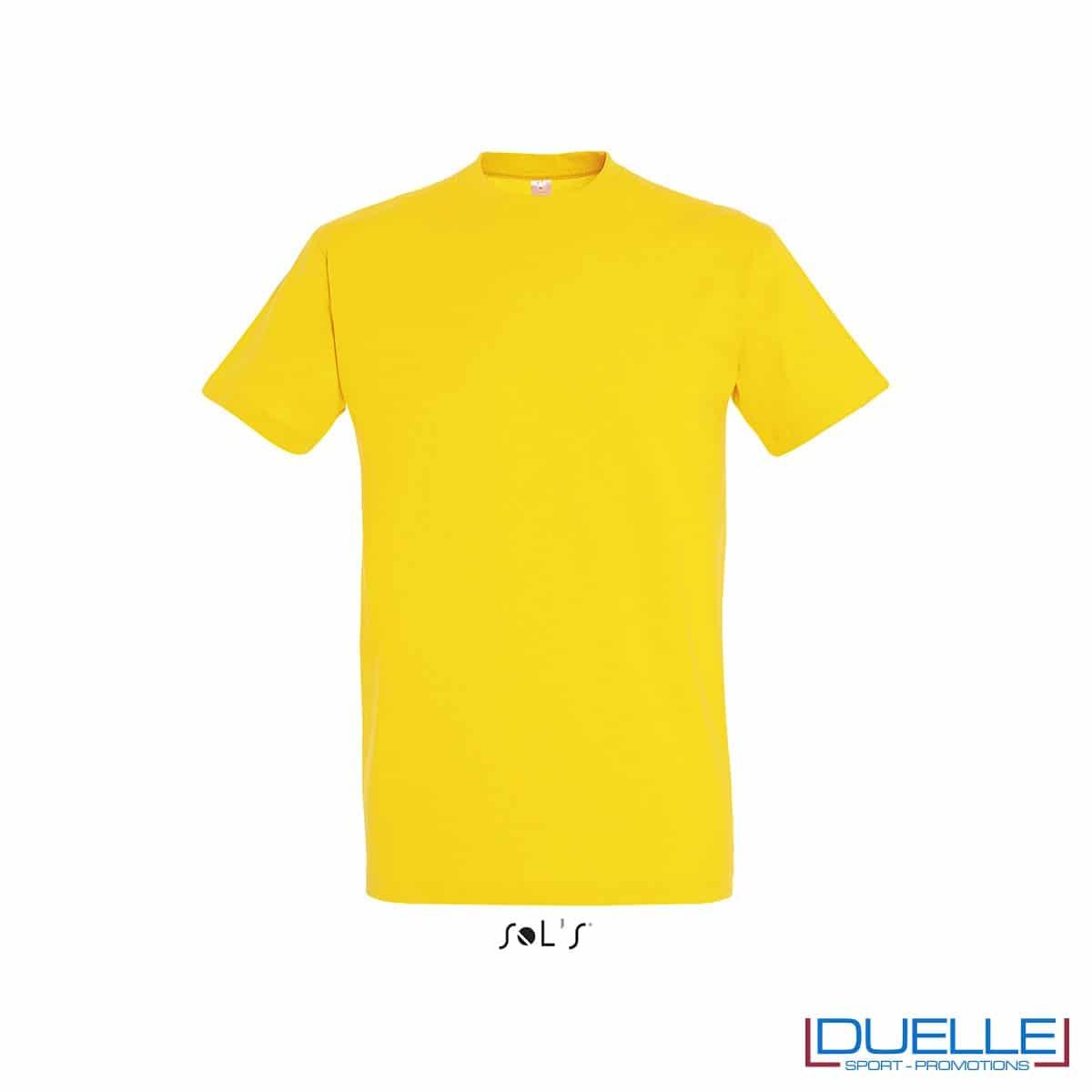 Maglietta promozionale in cotone pesante colore giallo personalizzata con ricamo o stampa