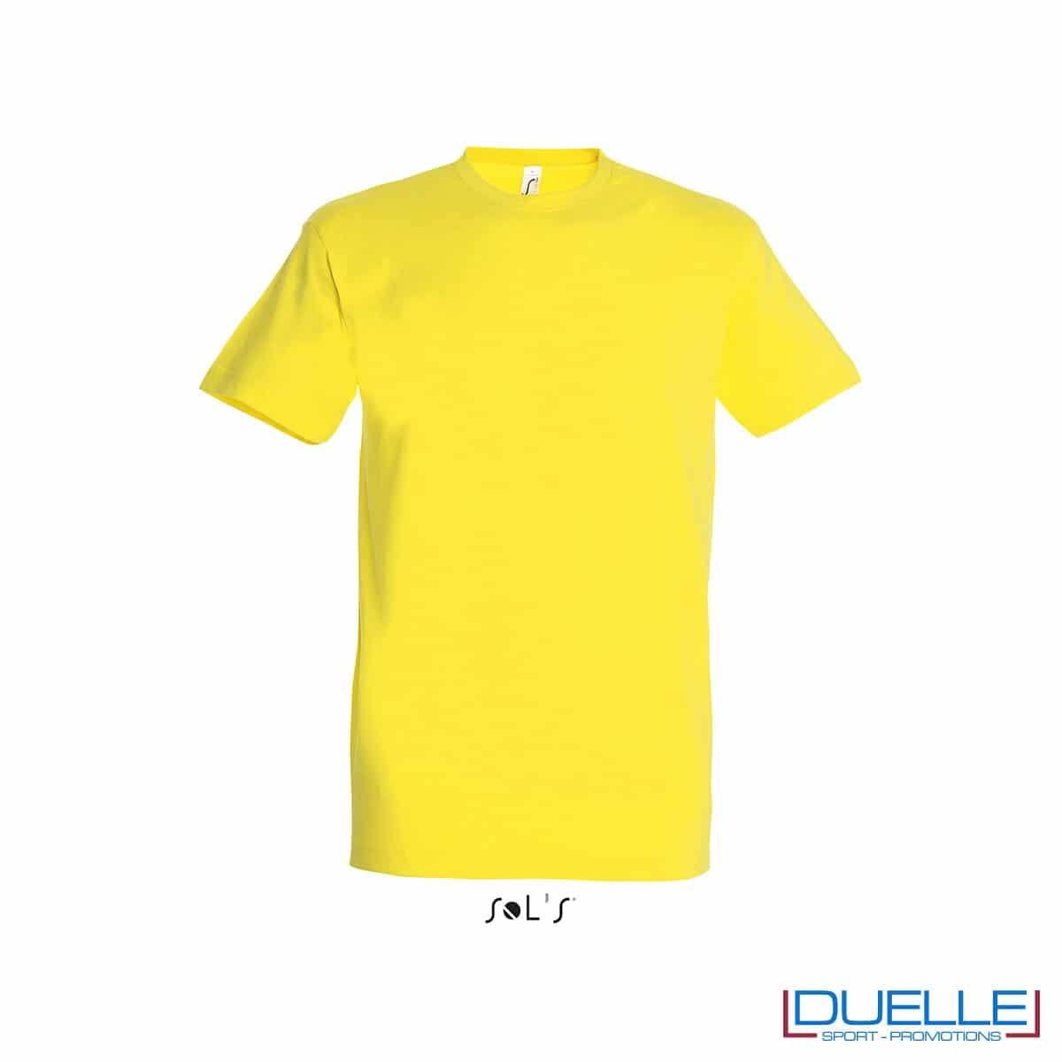 Tshirt promozionale in cotone pesante colore giallo limone personalizzata con stampa o ricamo