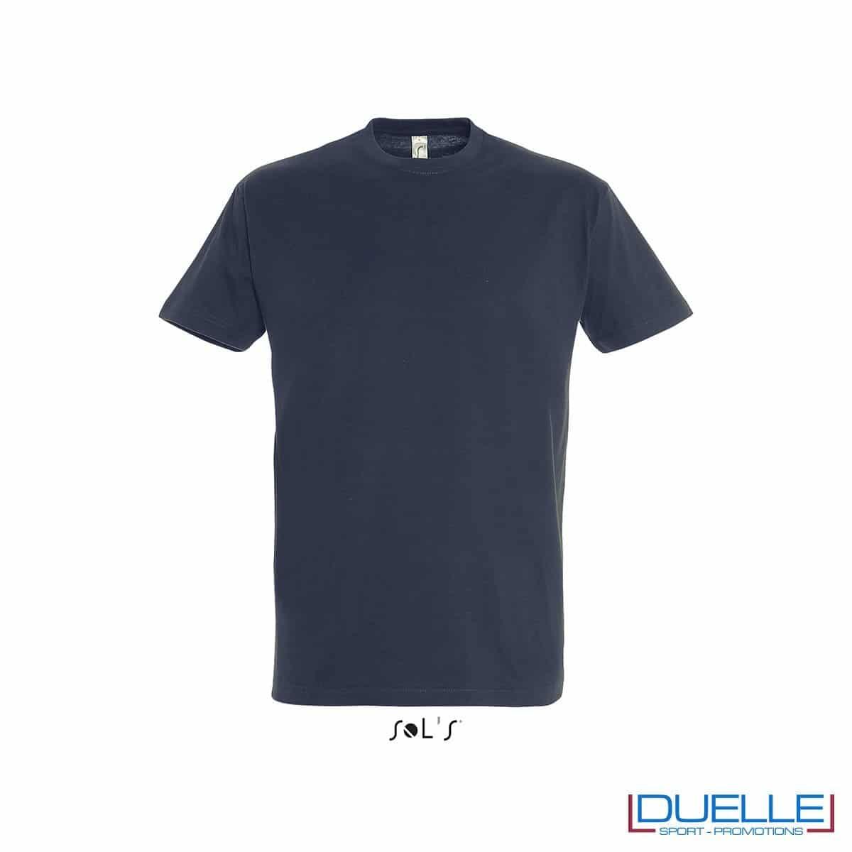 Maglietta mezza maniche girocollo in cotone pesante personalizzata colore blu navy