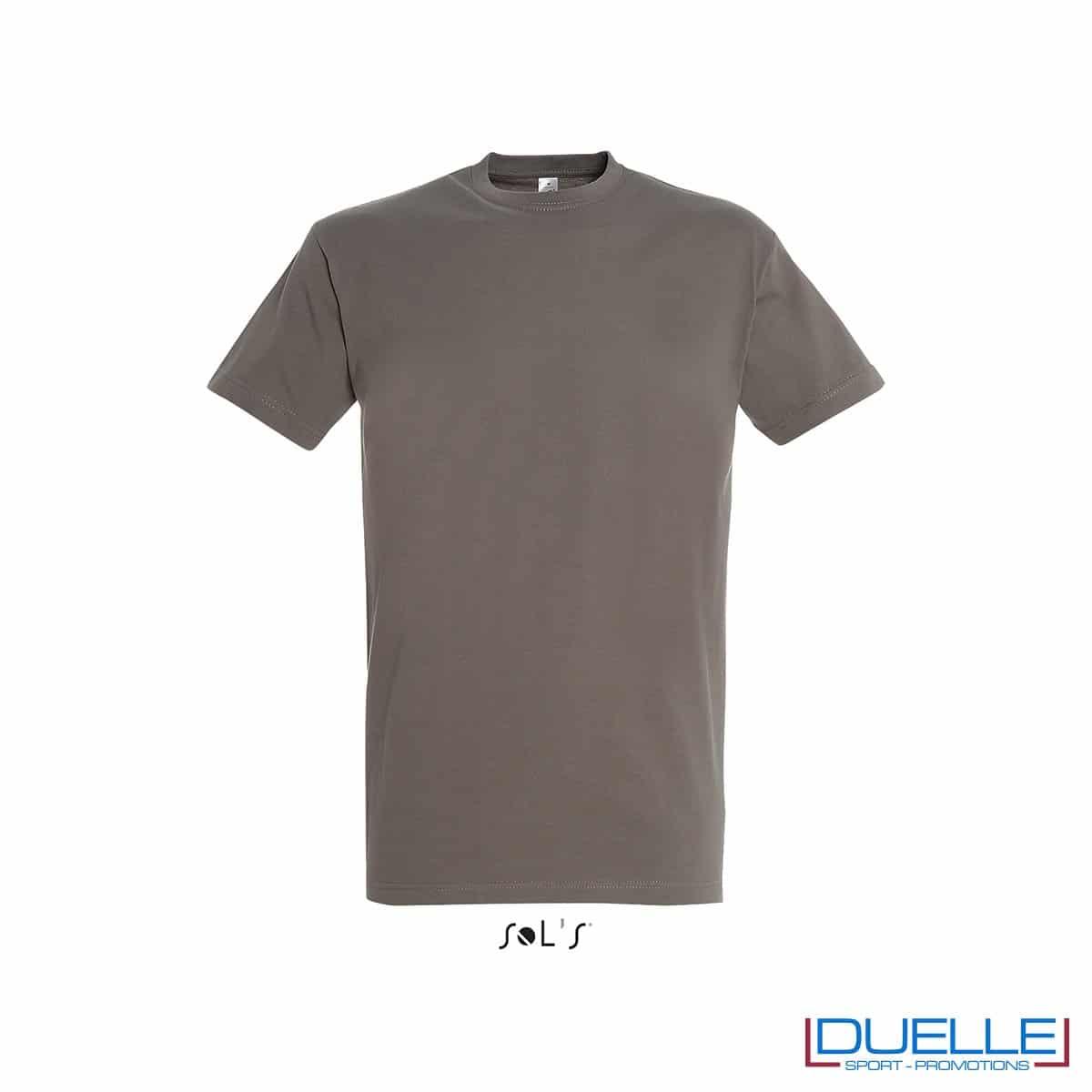Maglietta promozionale in cotone pesante colore zinco personalizzata con ricamo o stampa