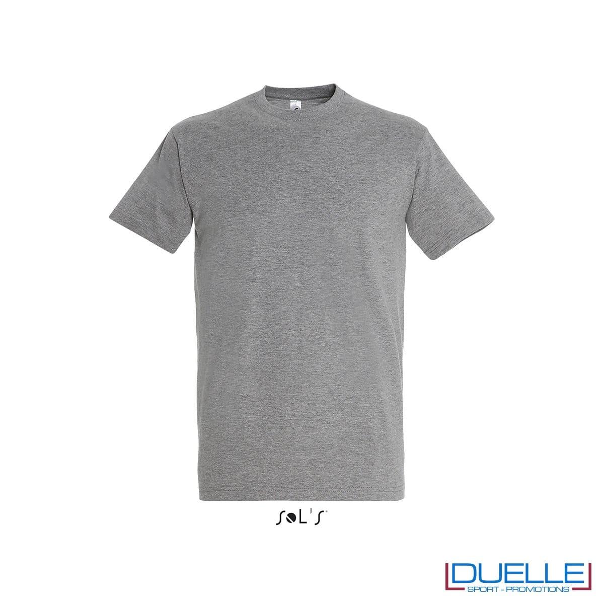Tshirt promozionale in cotone pesante colore grigio melange personalizzata con stampa o ricamo