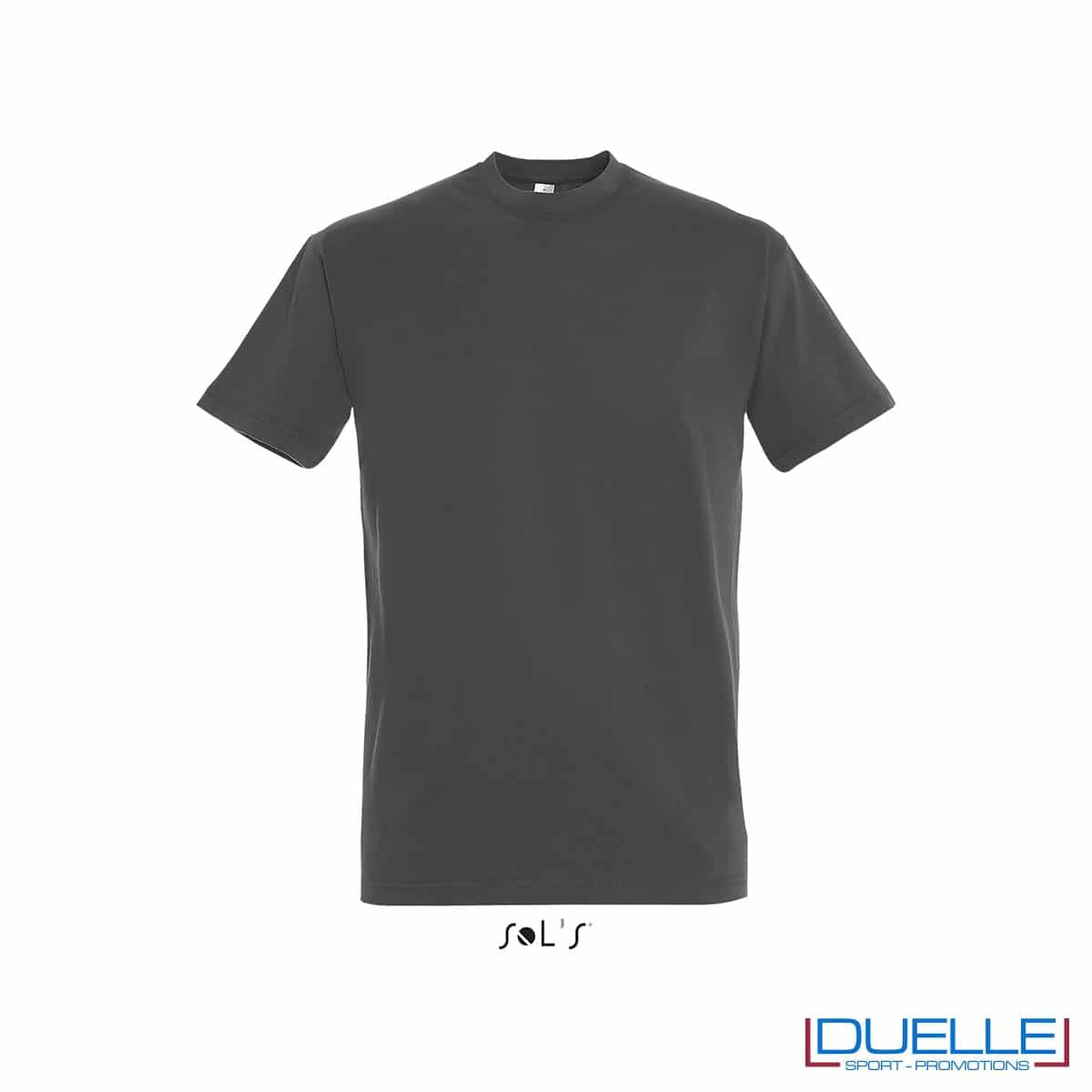 Tshirt in cotone pesante grigio scuro personalizzata con stampa o ricamo