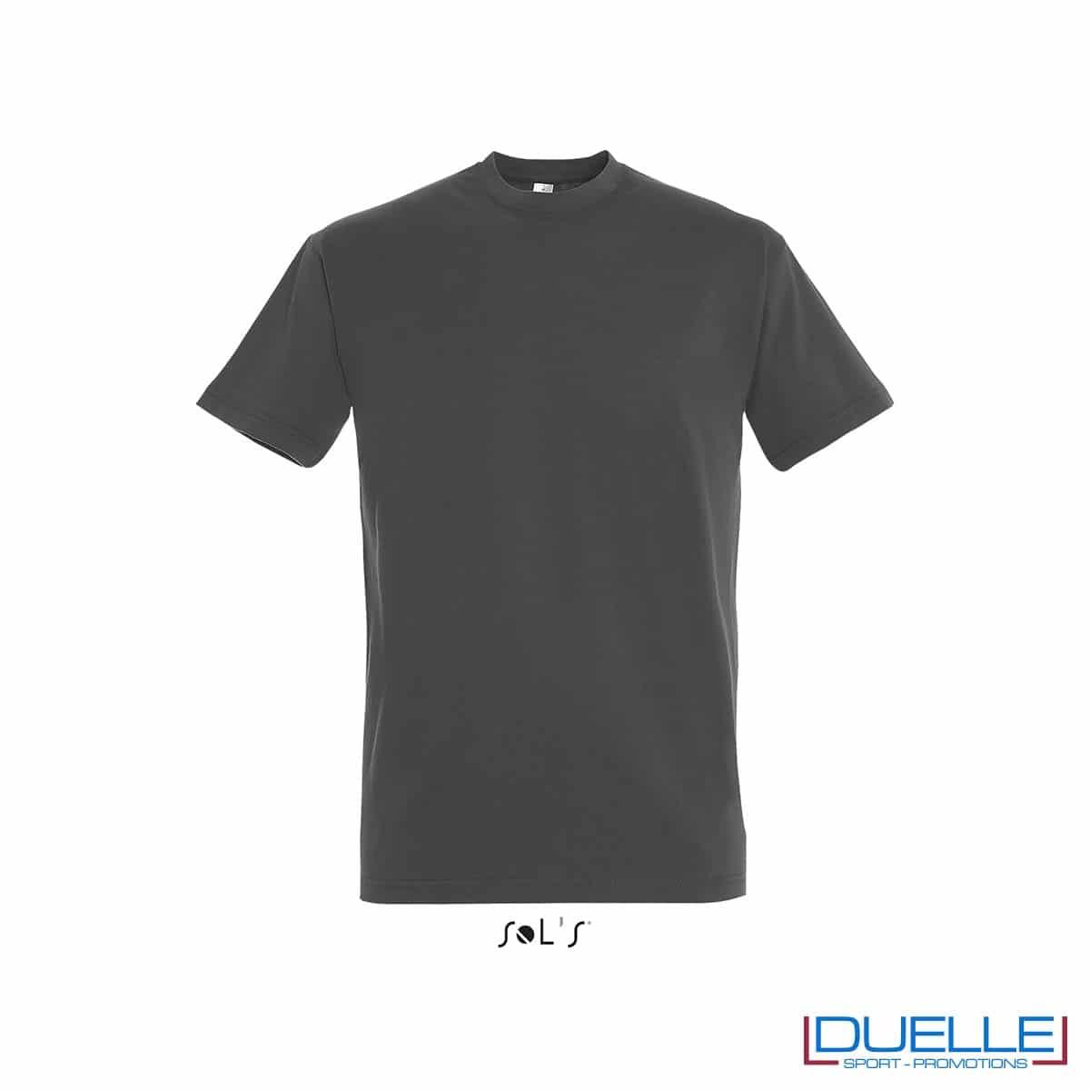Tshirt in cotone pesante grigio topo personalizzata con stampa o ricamo
