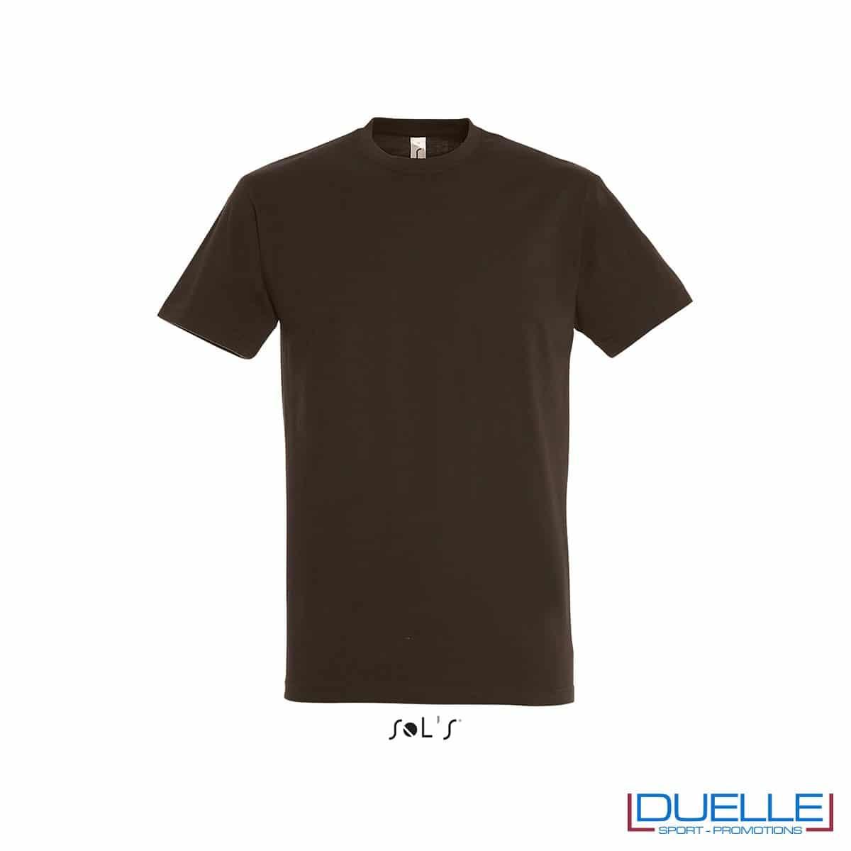 Maglietta promozionale in cotone pesante personalizzata colore cioccolato con stampa o ricamo