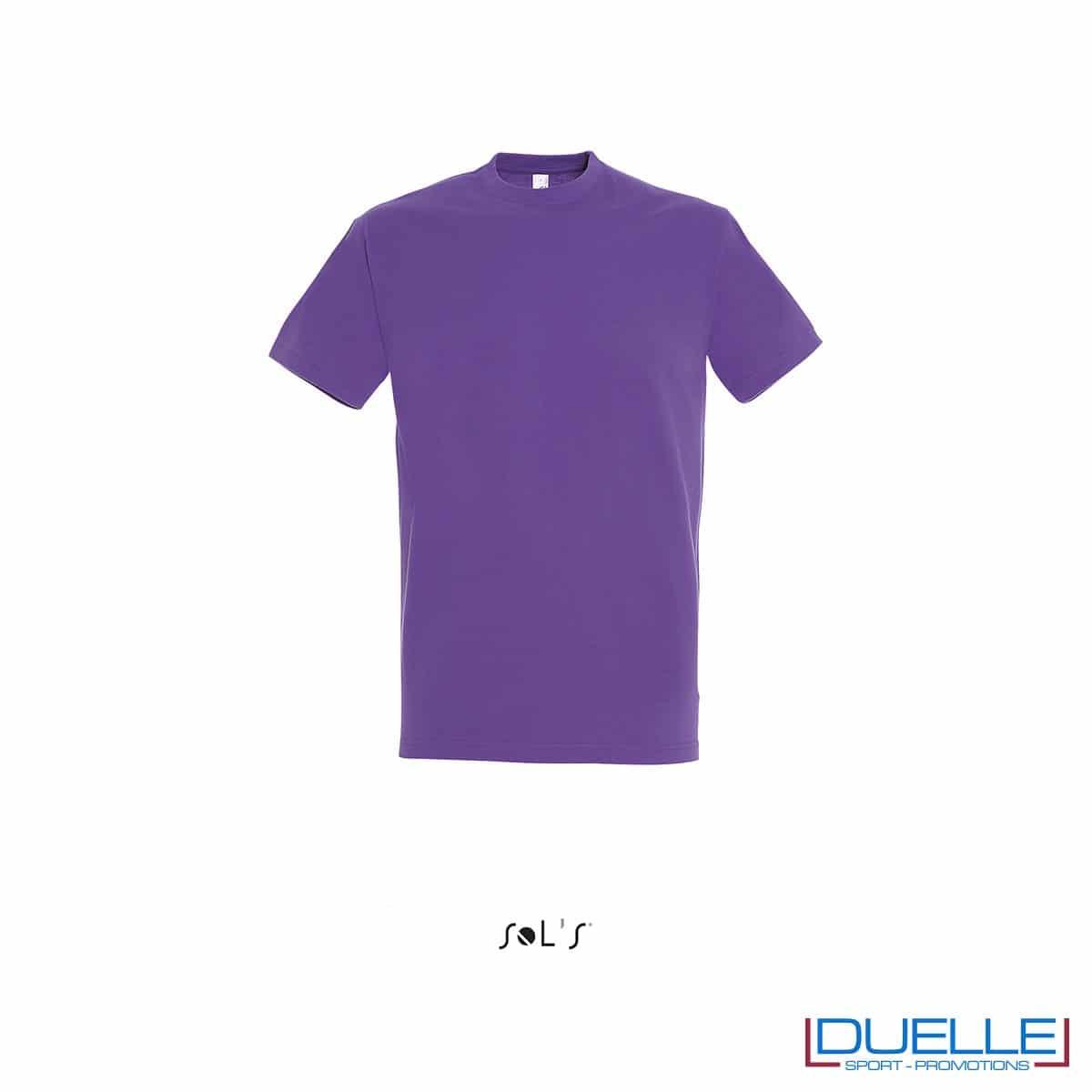 Maglietta promozionale in cotone pesante colore viola personalizzata con ricamo o stampa