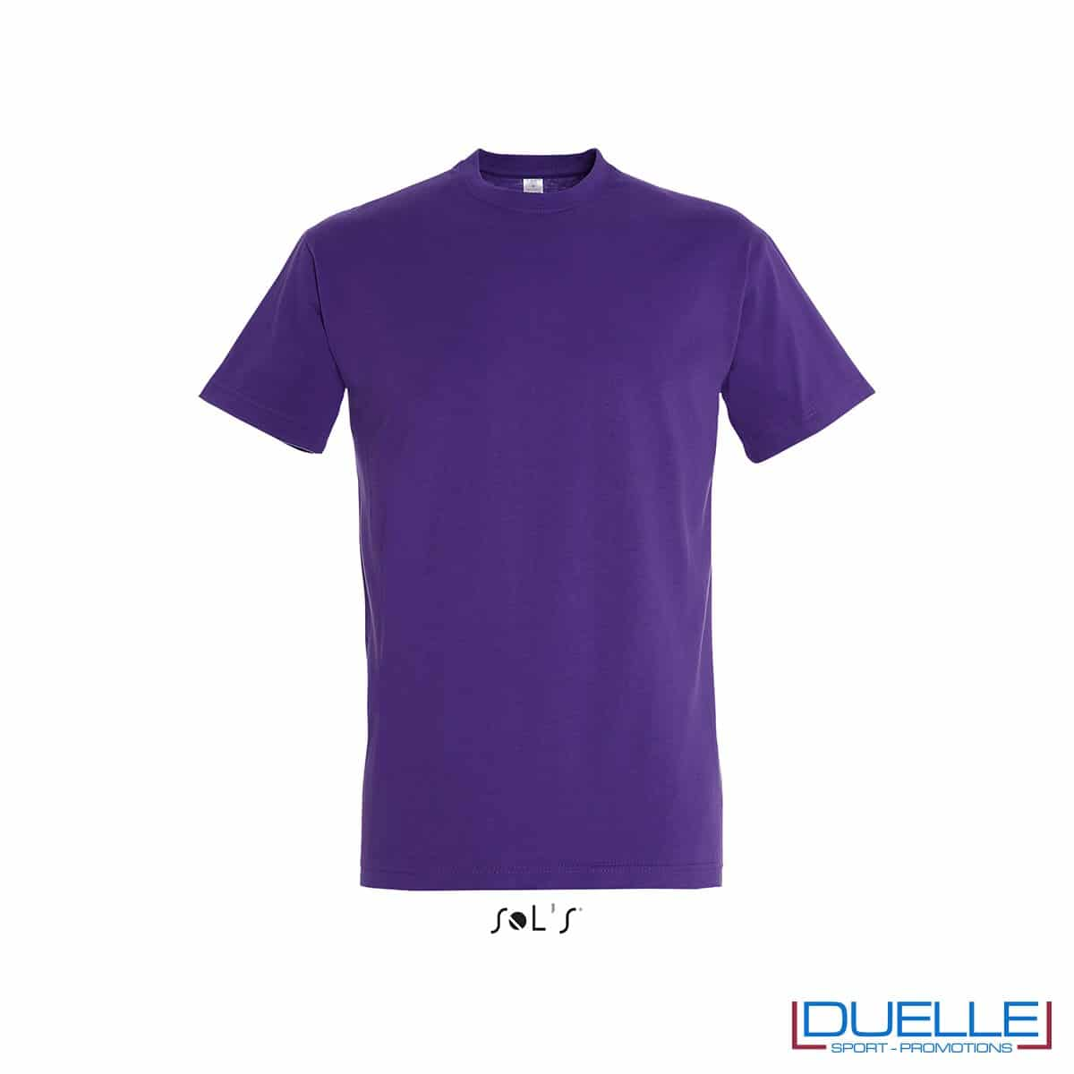 Maglietta promozionale in cotone pesante colore viola scuro personalizzata con ricamo o stampa