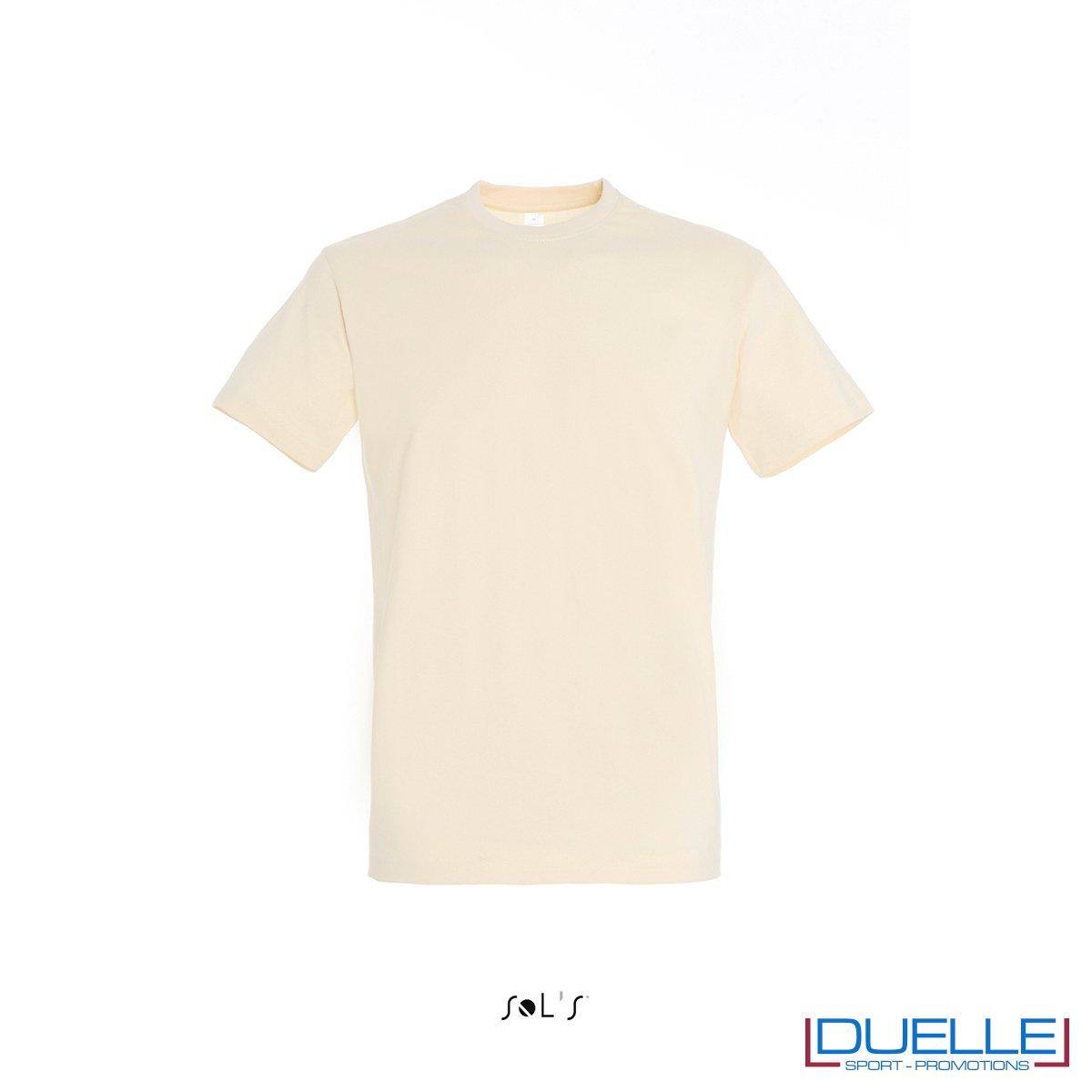 Maglietta personalizzata in cotone pesante colore crema personalizzata con stampa o ricamo