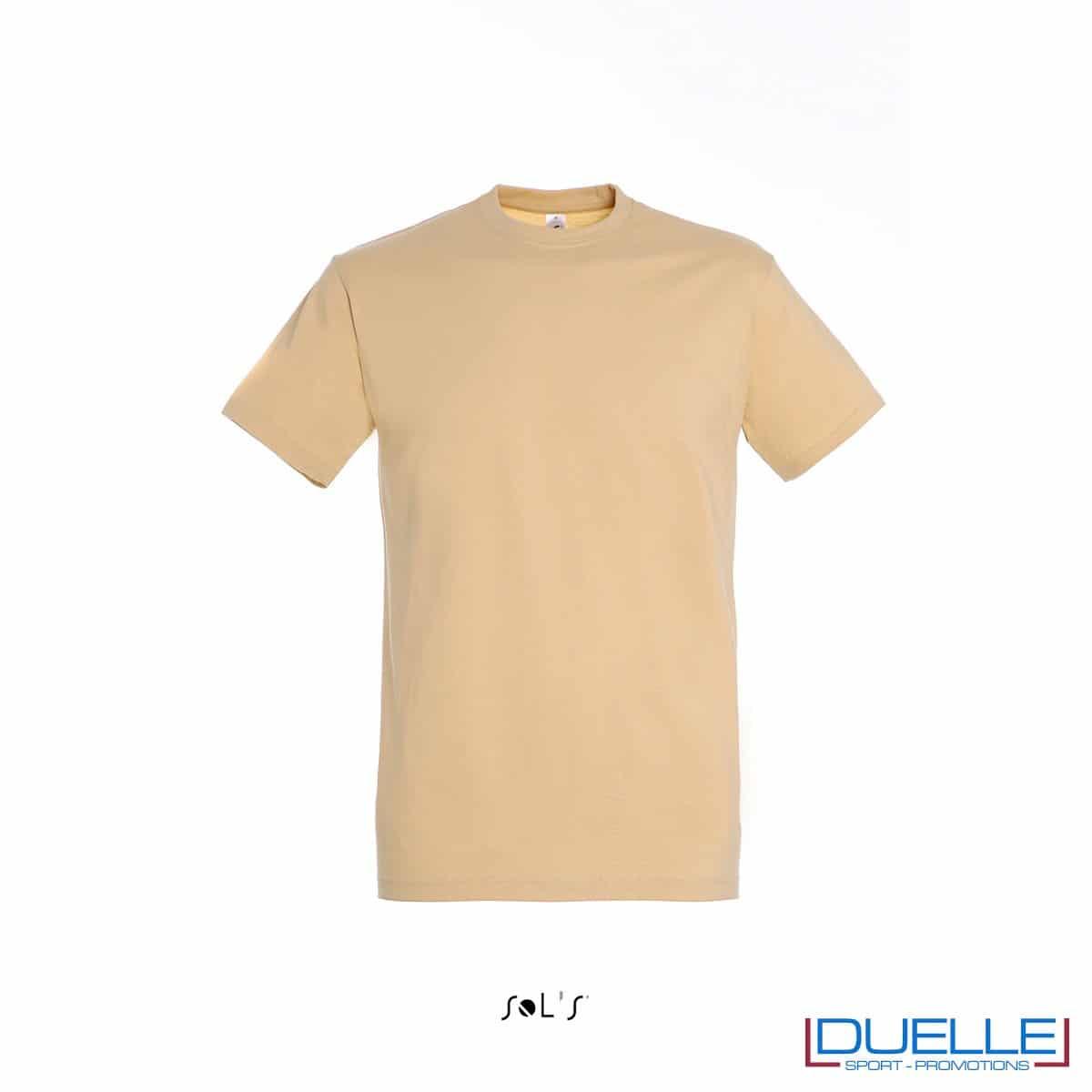 T-shirt promozionale in cotone pesante colore sabbia personalizzata con ricamo o stampa