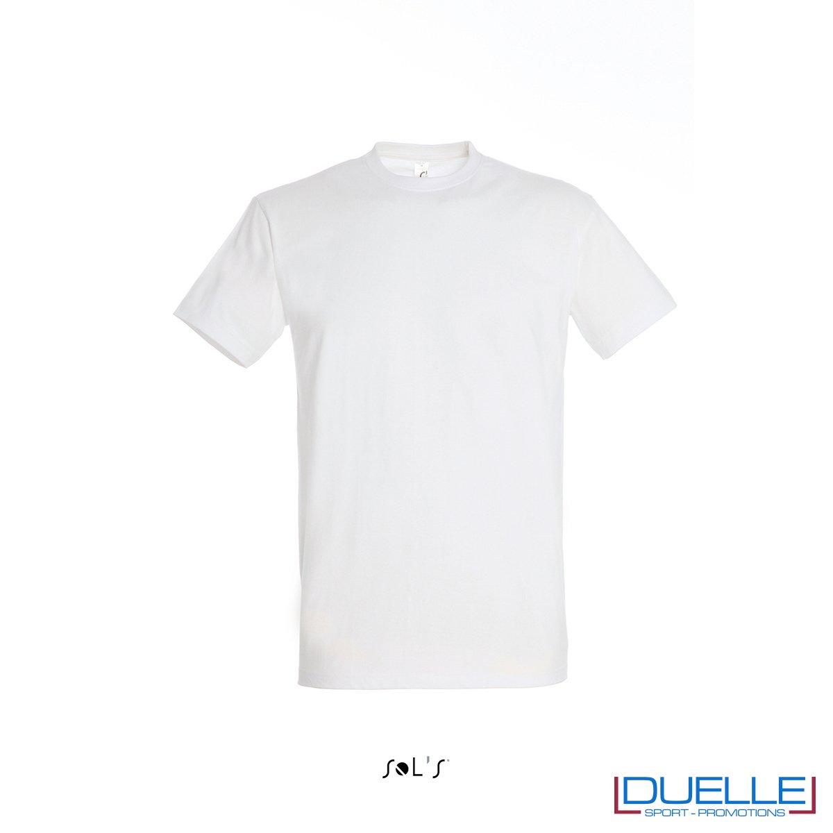 Maglietta promozionale in cotone pesante bianca personalizzata con ricamo o stampa