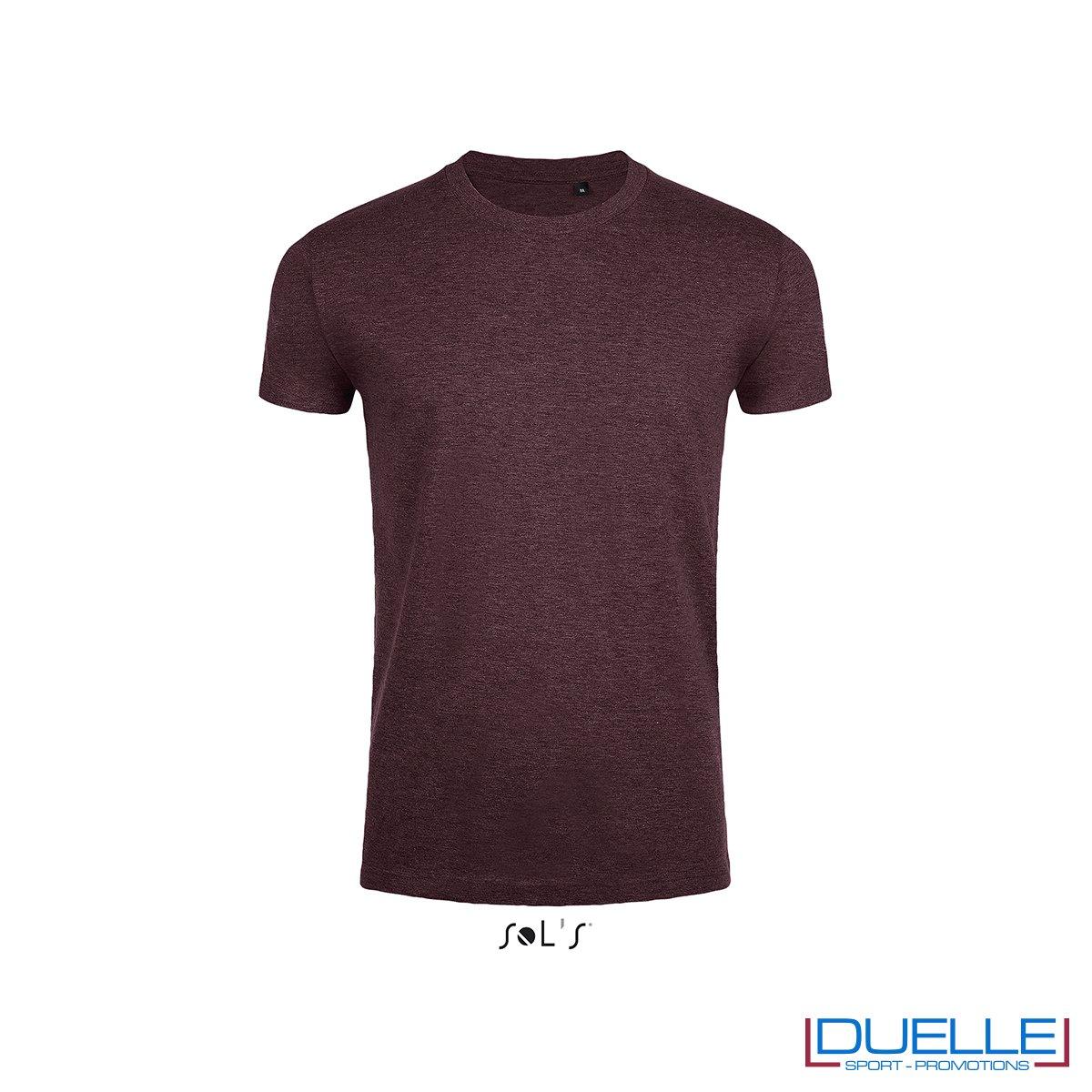 Maglietta uomo slim fit in cotone pesante colore bordeaux melange