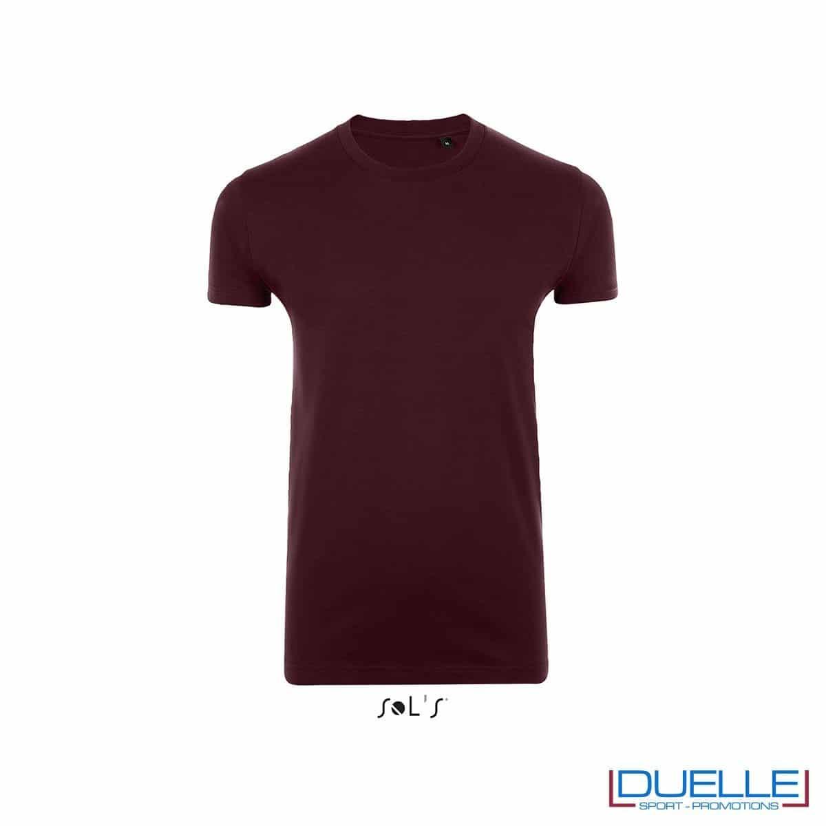 T-shirt uomo slim fit in cotone pesante colore bordeaux
