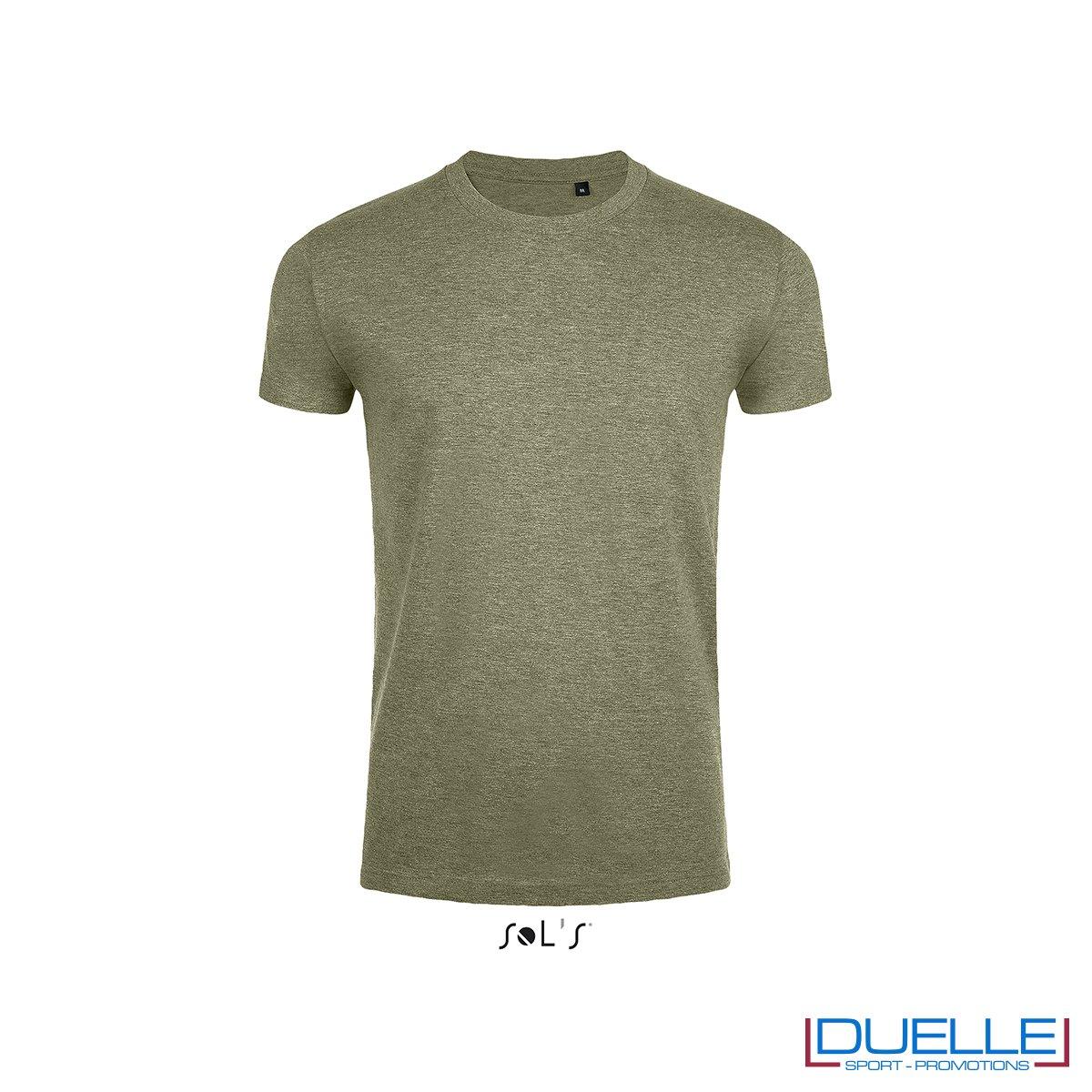 T-shirt girocollo slim fit uomo in cotone pesante colore kaki melange