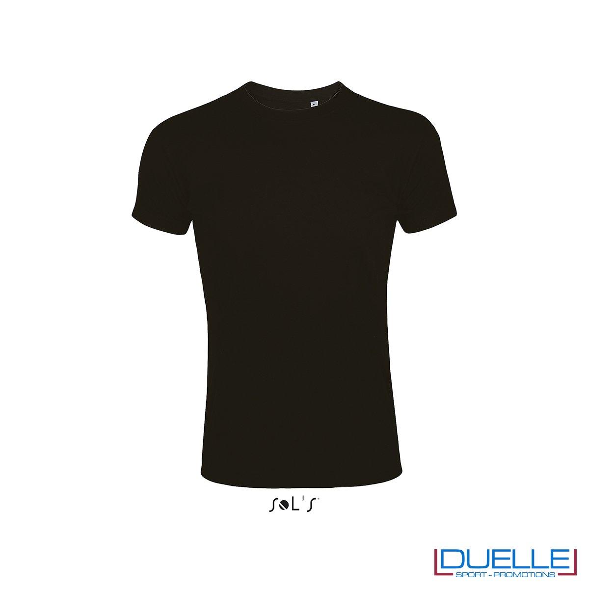 T-shirt girocollo slim fit uomo in cotone pesante colore nero