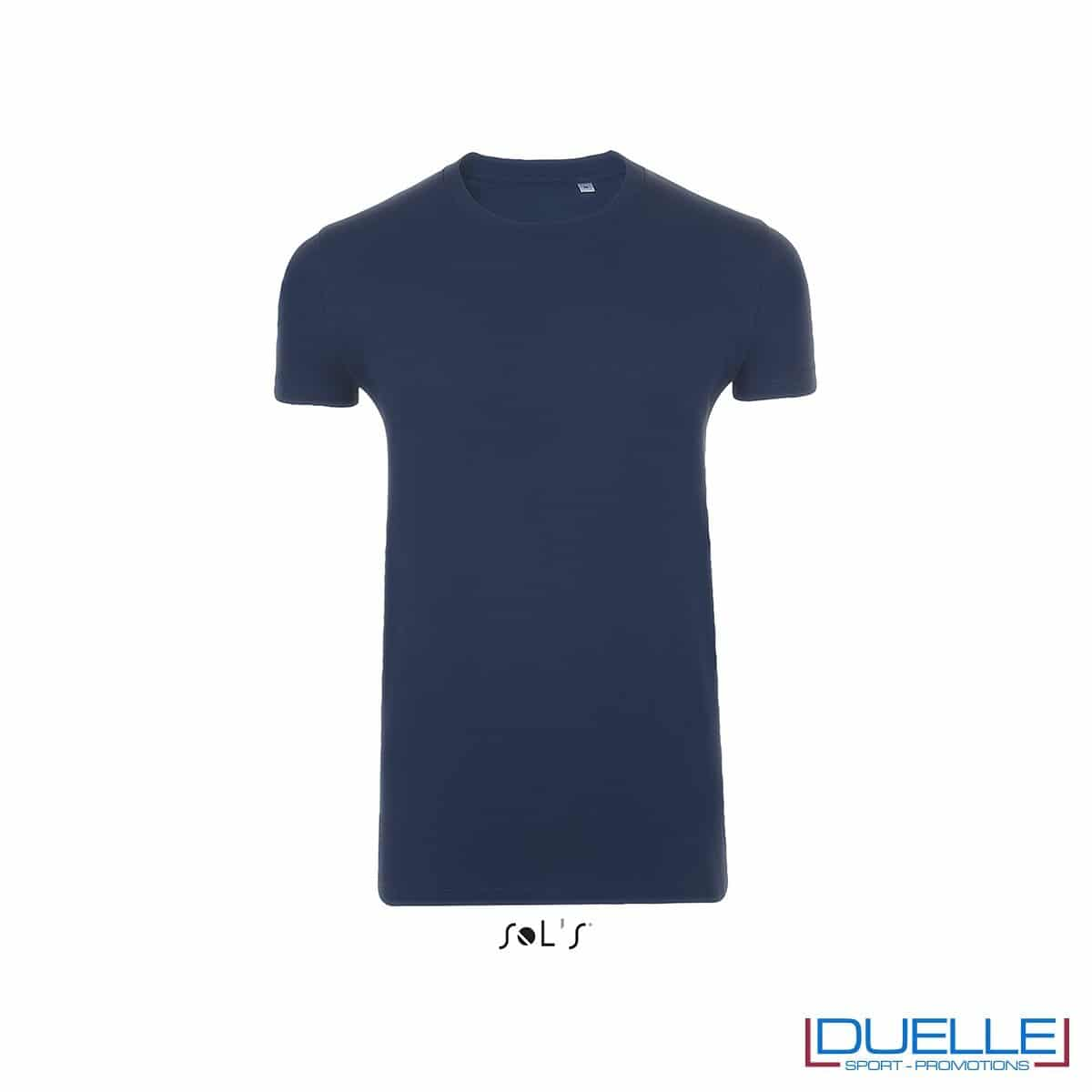 T-shirt uomo slim fit in cotone pesante colore blu oltremare