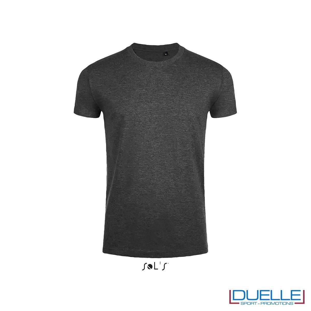 T-shirt uomo slim fit in cotone pesante colore antracite melange