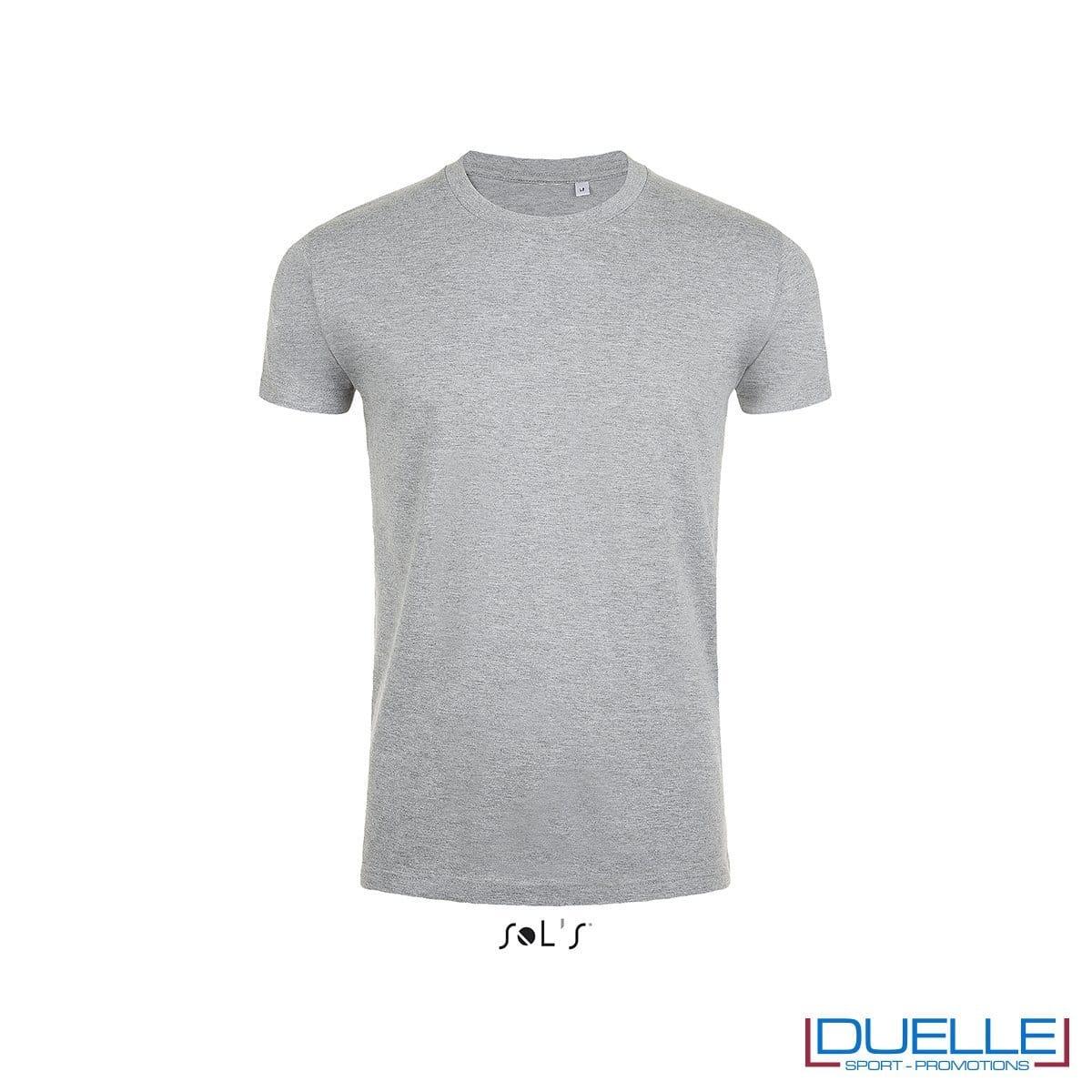 T-shirt slim fit uomo in cotone pesante colore grigio melange
