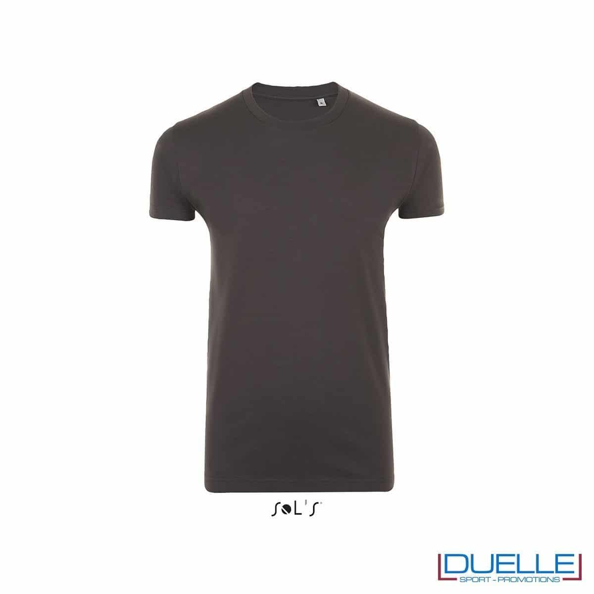 T-shirt slim fit uomo in cotone pesante colore grigio scuro