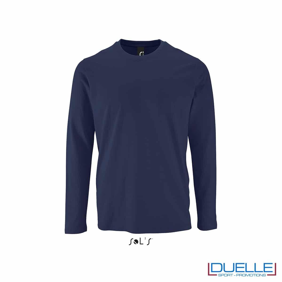Maglietta manica lunga uomo personalizzata colore blu oltremare