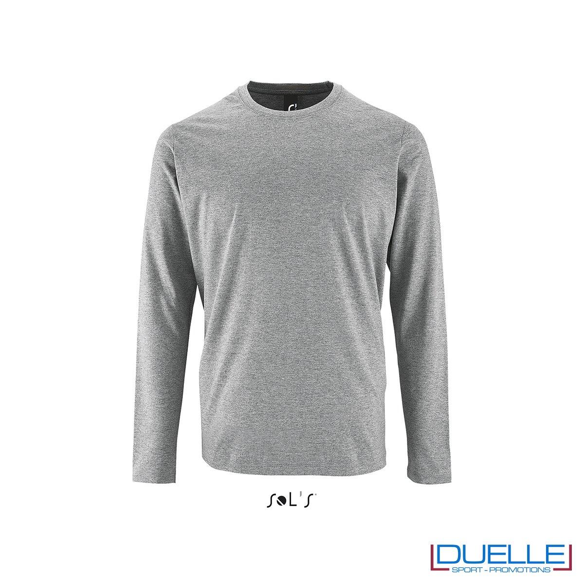 Maglietta manica lunga uomo personalizzata colore grigio melange