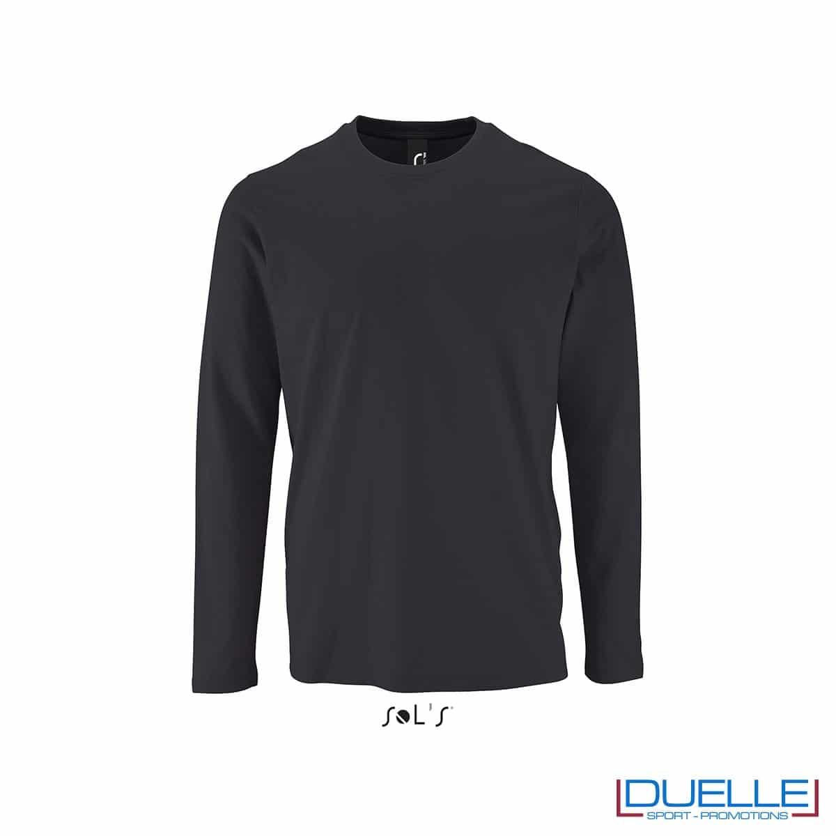 T-shirt manica lunga uomo personalizzata colore grigio topo