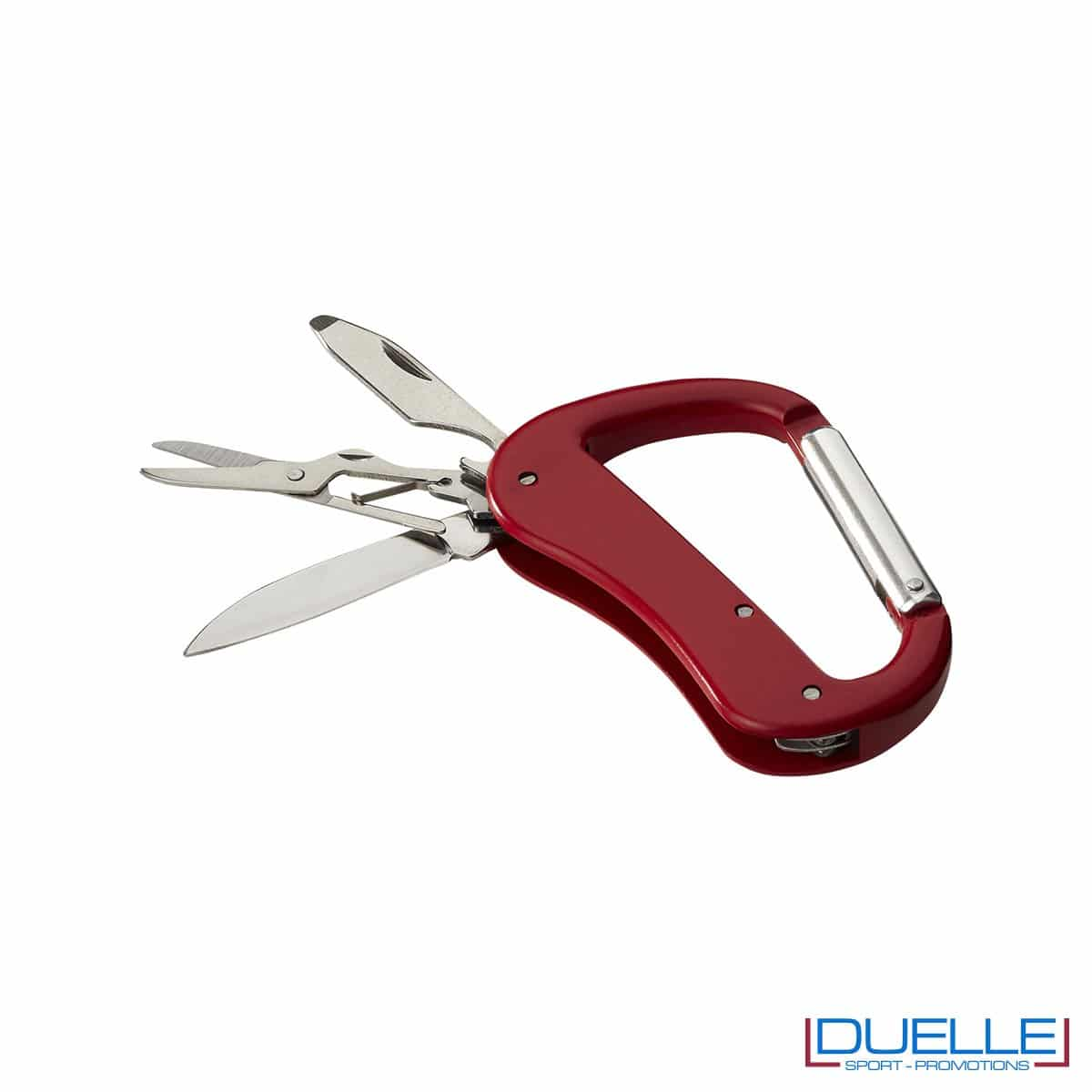 Coltellino 5 funzioni con moschettone personalizzato colore rosso