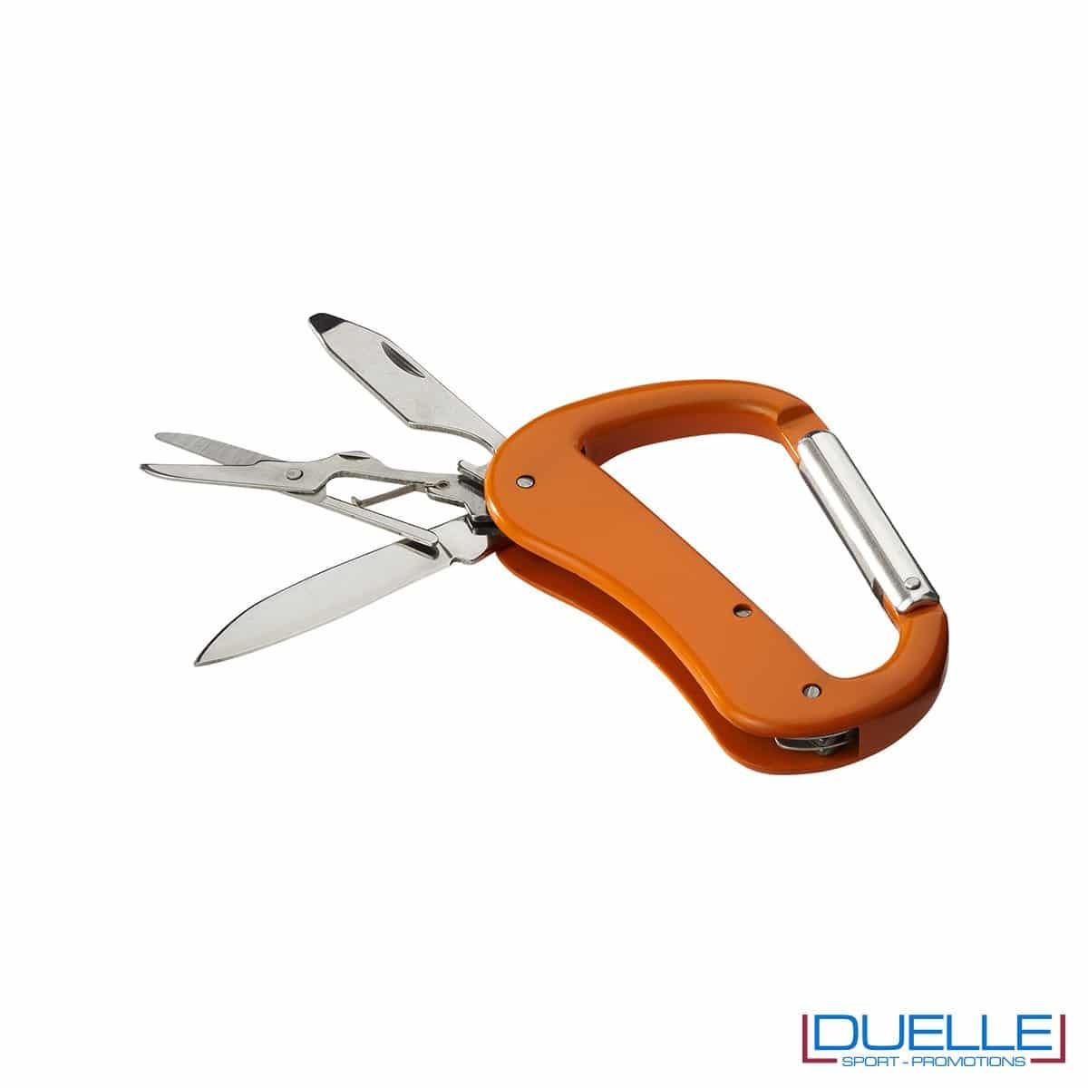Coltellino 5 funzioni con moschettone personalizzato colore arancione