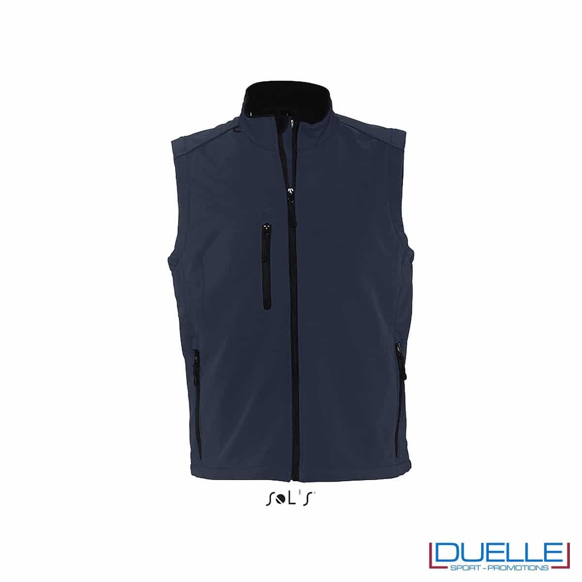 Gilet softshell colore blu oltremare personalizzato con stampe o ricami