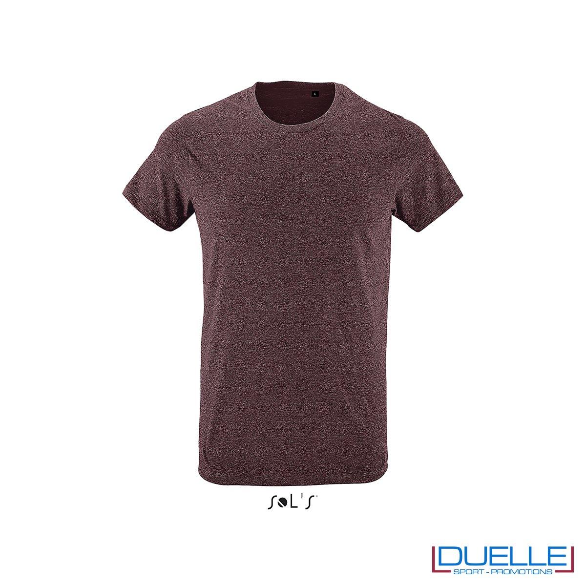 Tshirt girocollo personalizzata slim-fit colore bordeaux melange