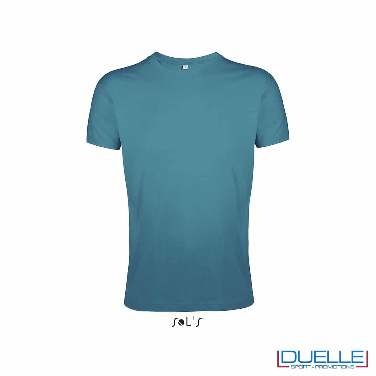Maglietta uomo personalizzata slim-fit girocollo colore blu anatra