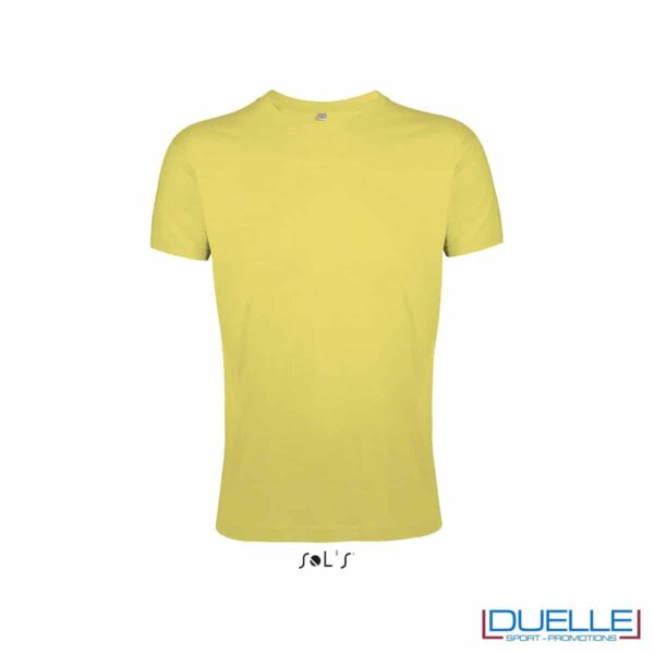 T-shirt uomo personalizzata slim-fit girocollo colore giallo miele