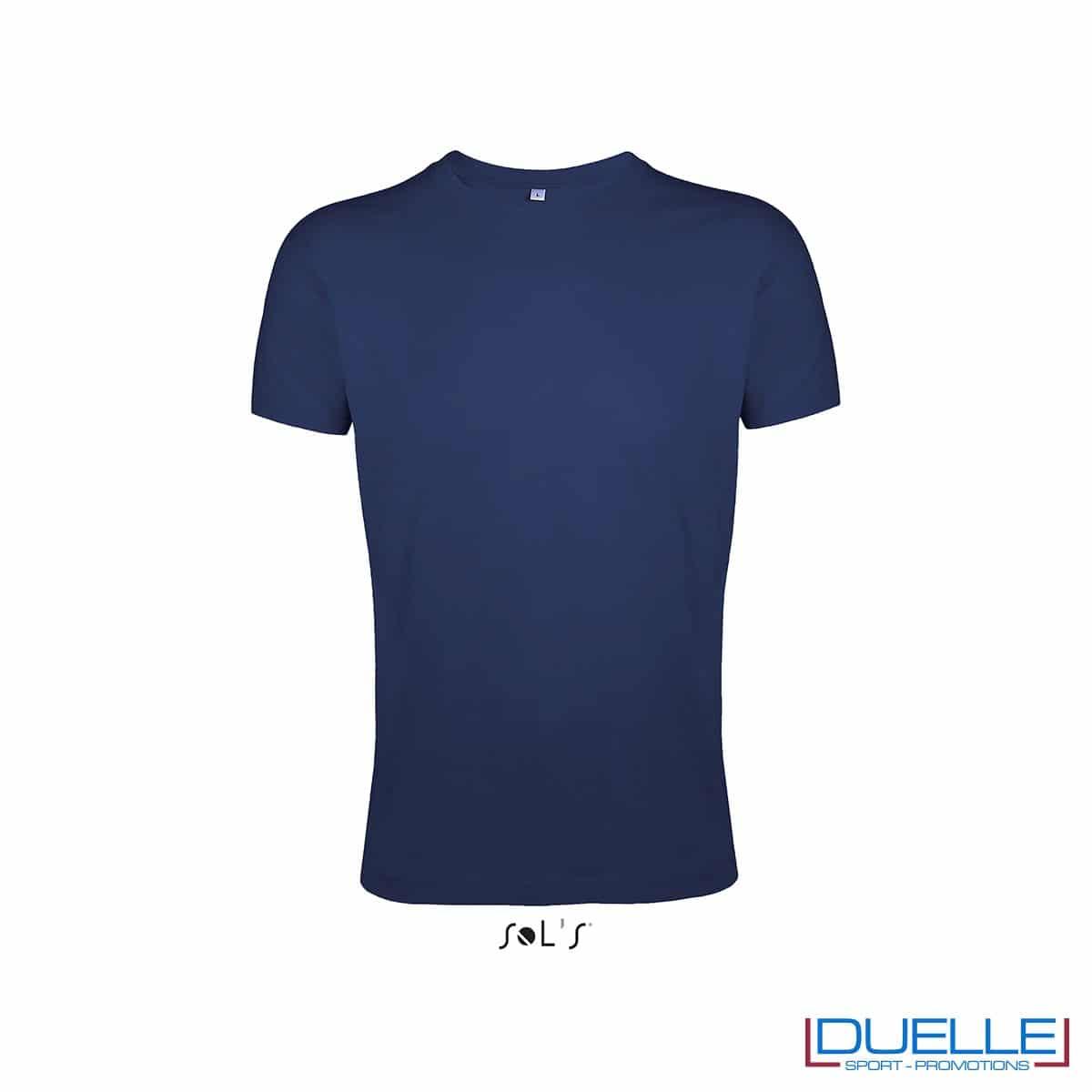 T-shirt uomo personalizzata slim-fit girocollo colore blu oltremare