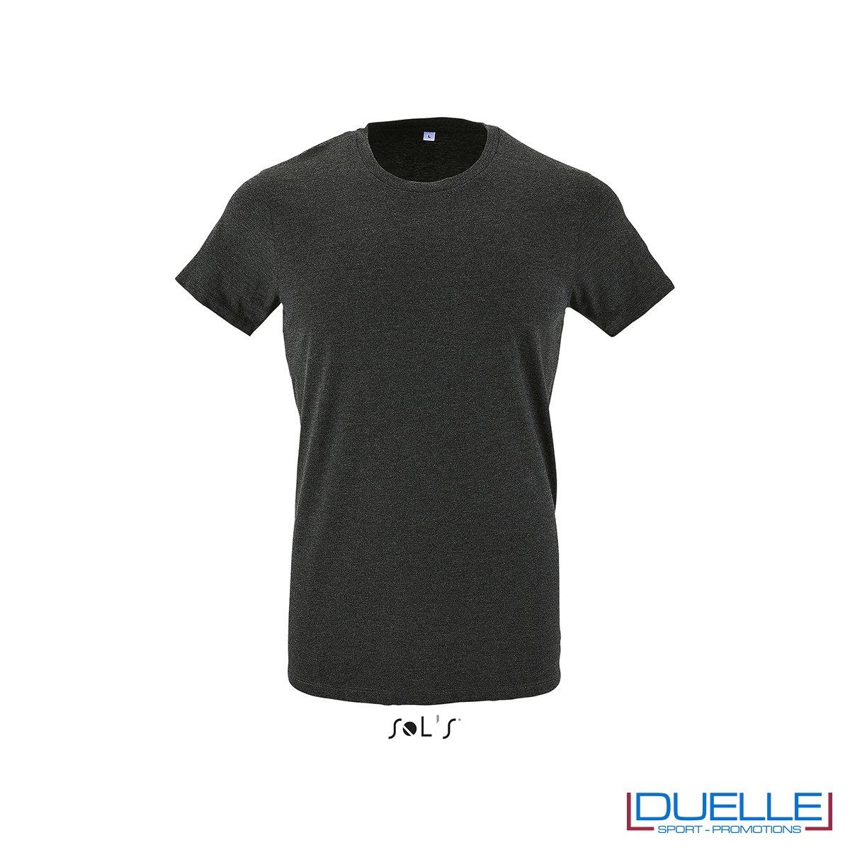 Tshirt girocollo personalizzata slim-fit colore antracite melange