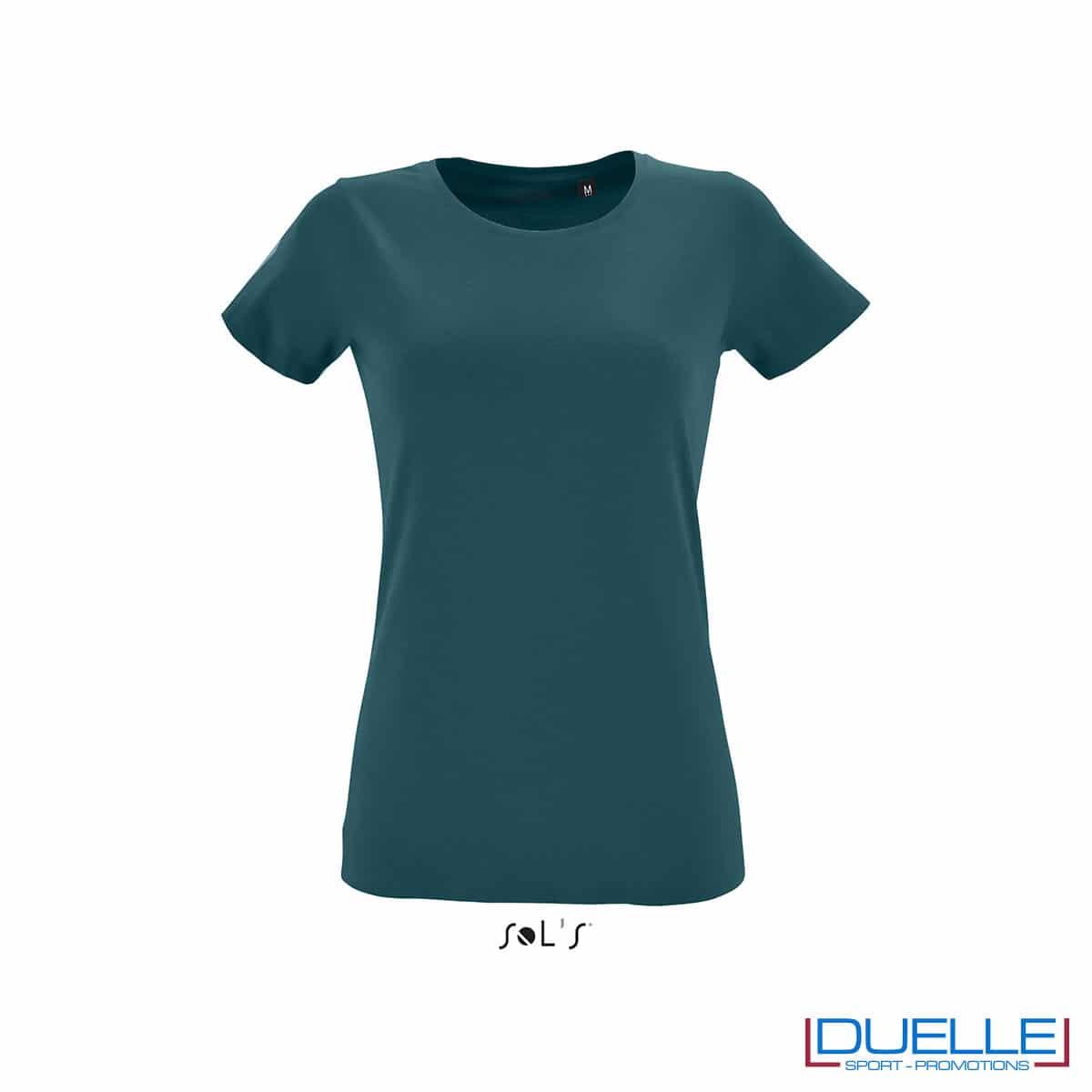 maglietta donna fitness blu anatra