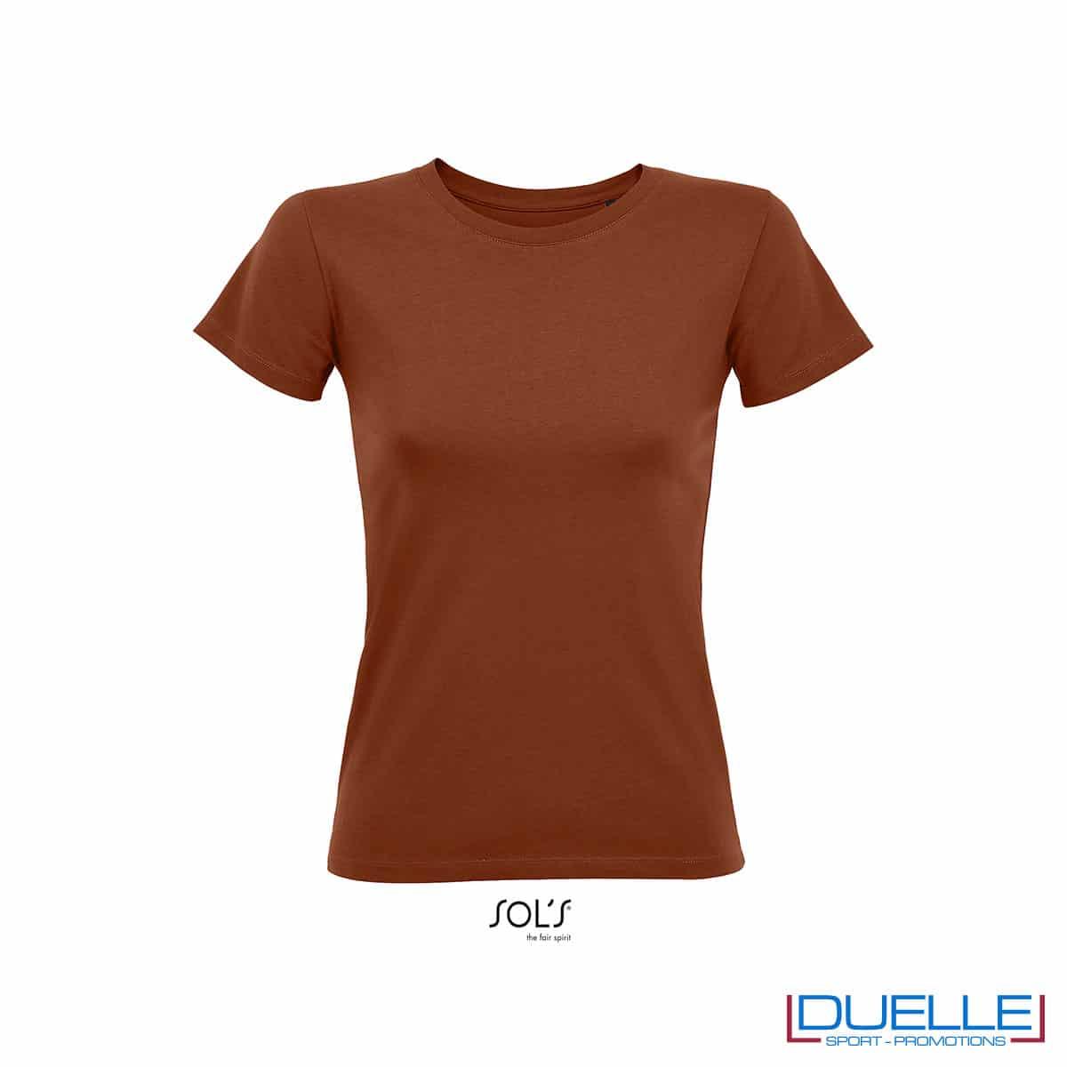 Maglietta donna terracotta slim fit