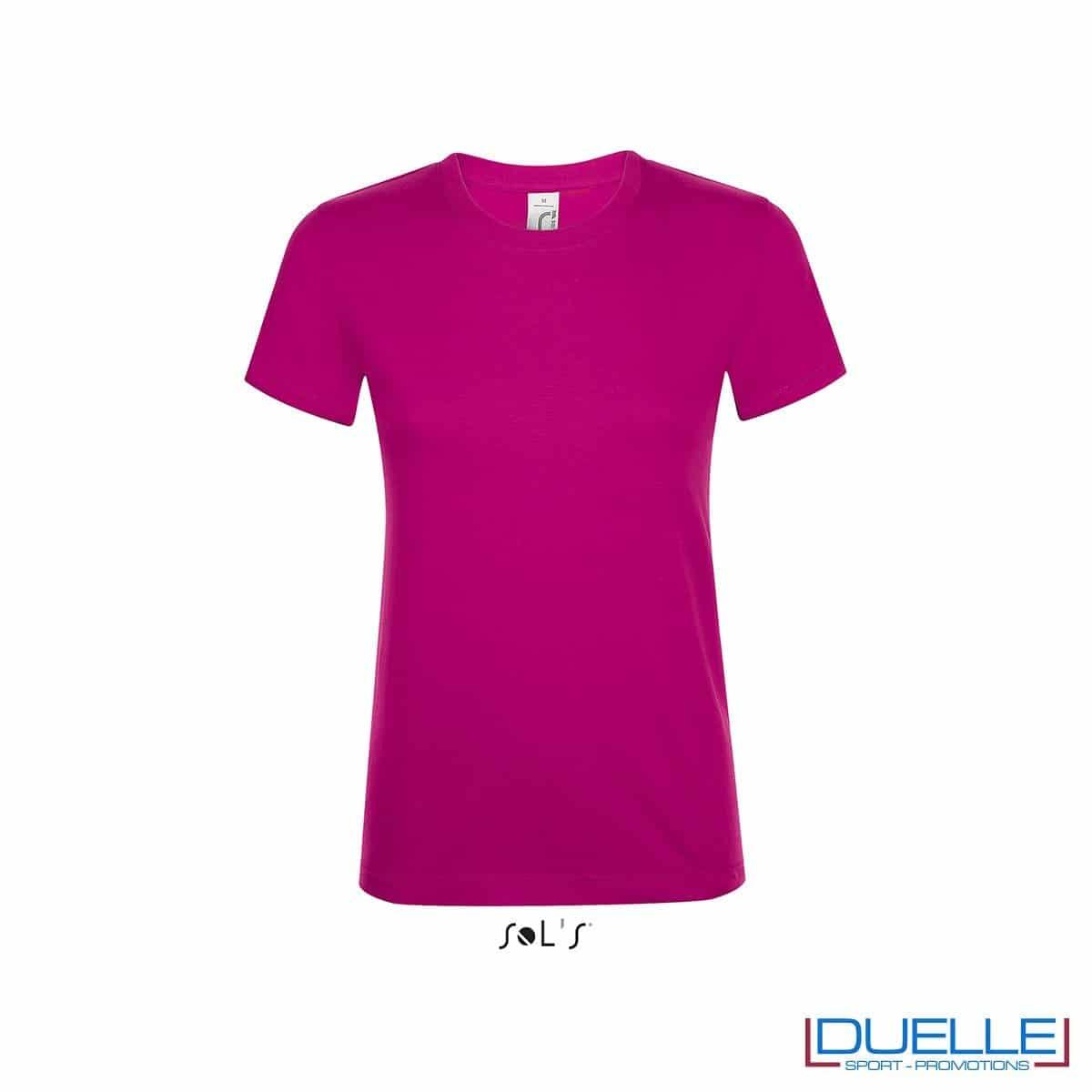 T-shirt girocollo donna personalizzata colore fucsia
