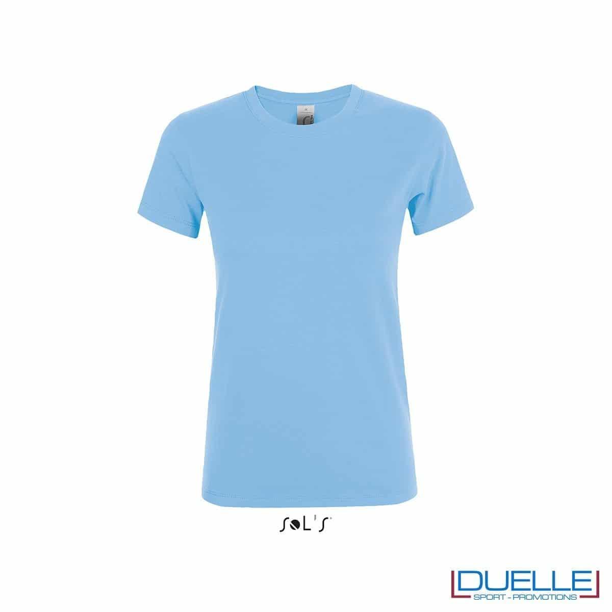 T-shirt personalizzata donna girocollo colore cielo