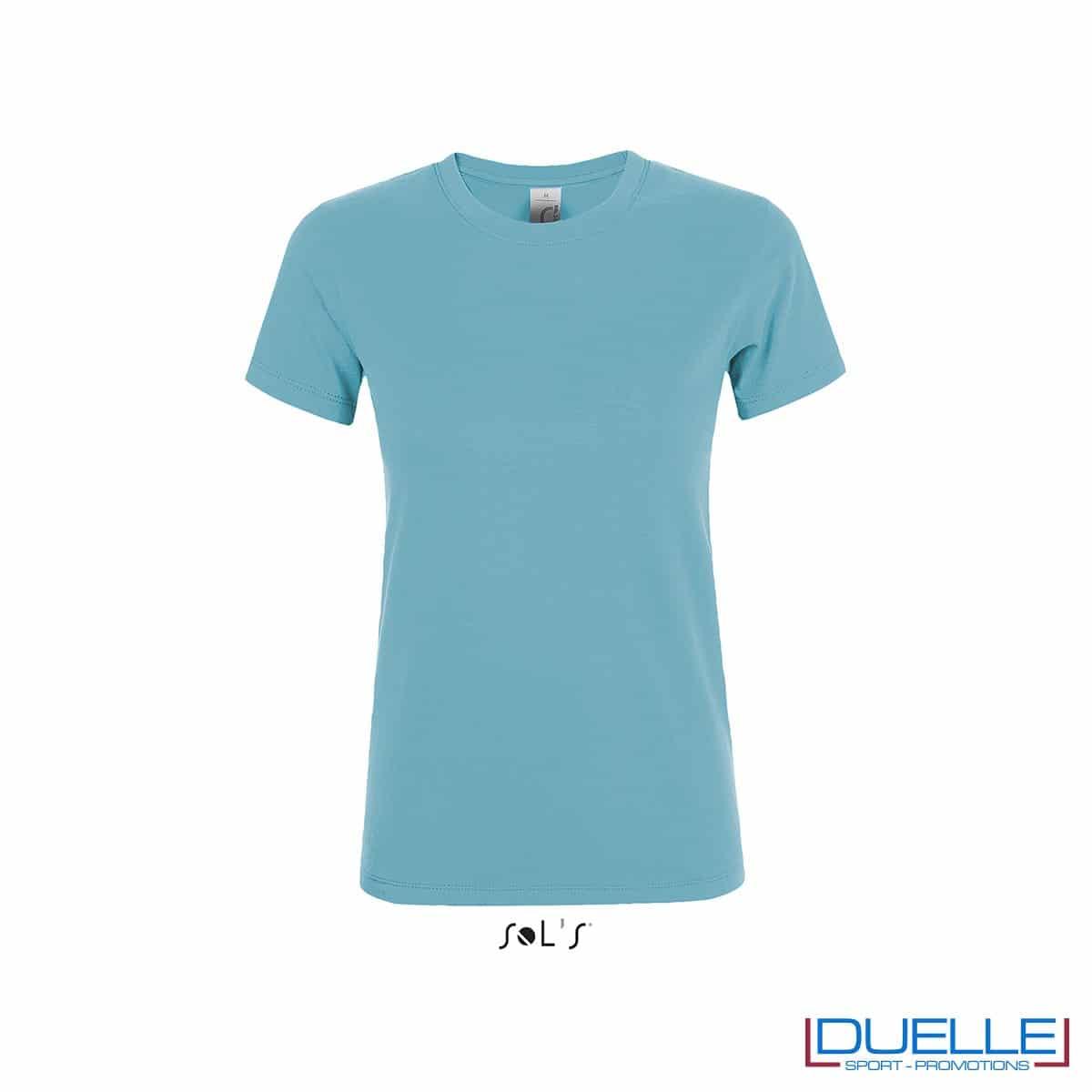 maglietta personalizzata da donna in colore blu atollo