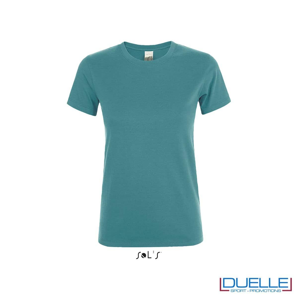 T-shirt girocollo donna personalizzata colore blu anatra