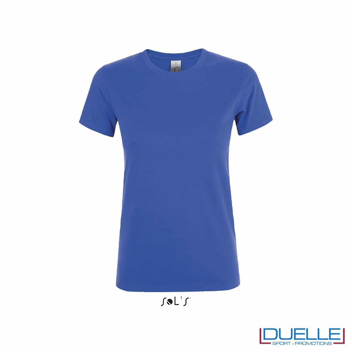 T-shirt personalizzata donna girocollo colore blu royal