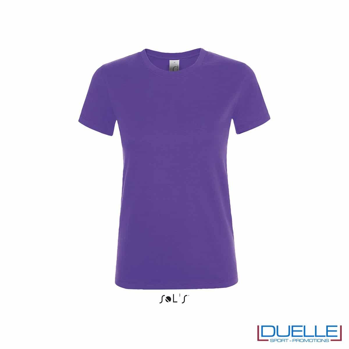 T-shirt donna girocollo personalizzata colore viola